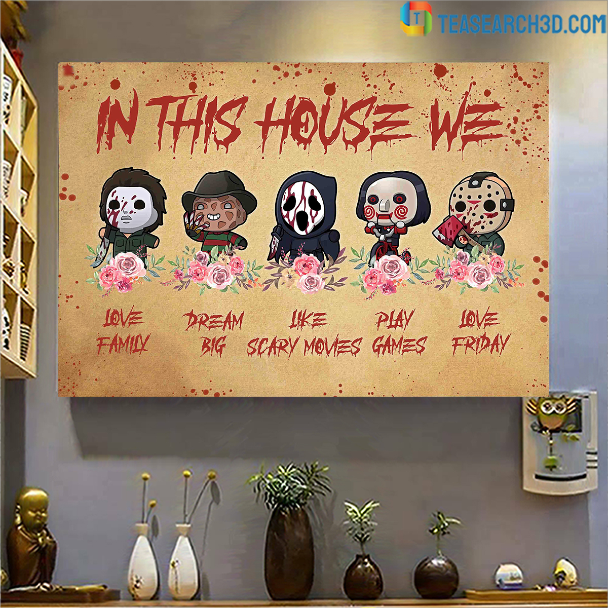 Horror movies in this house we love family canvas large