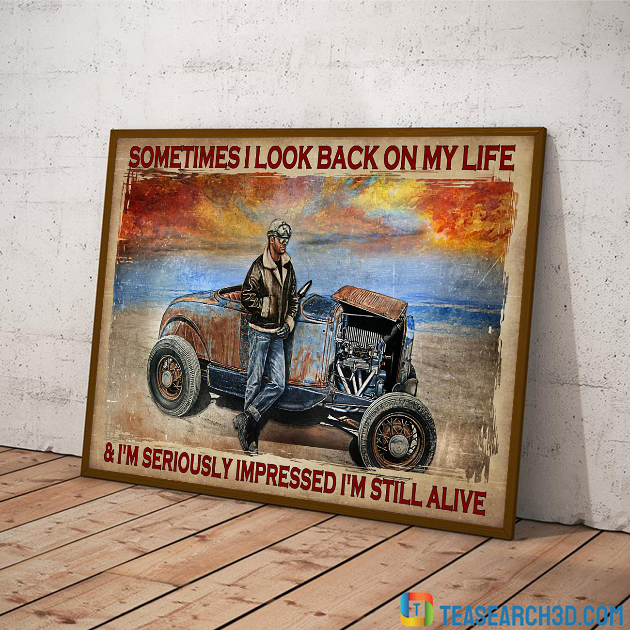 Hot rod sometimes I look back on my life poster A1