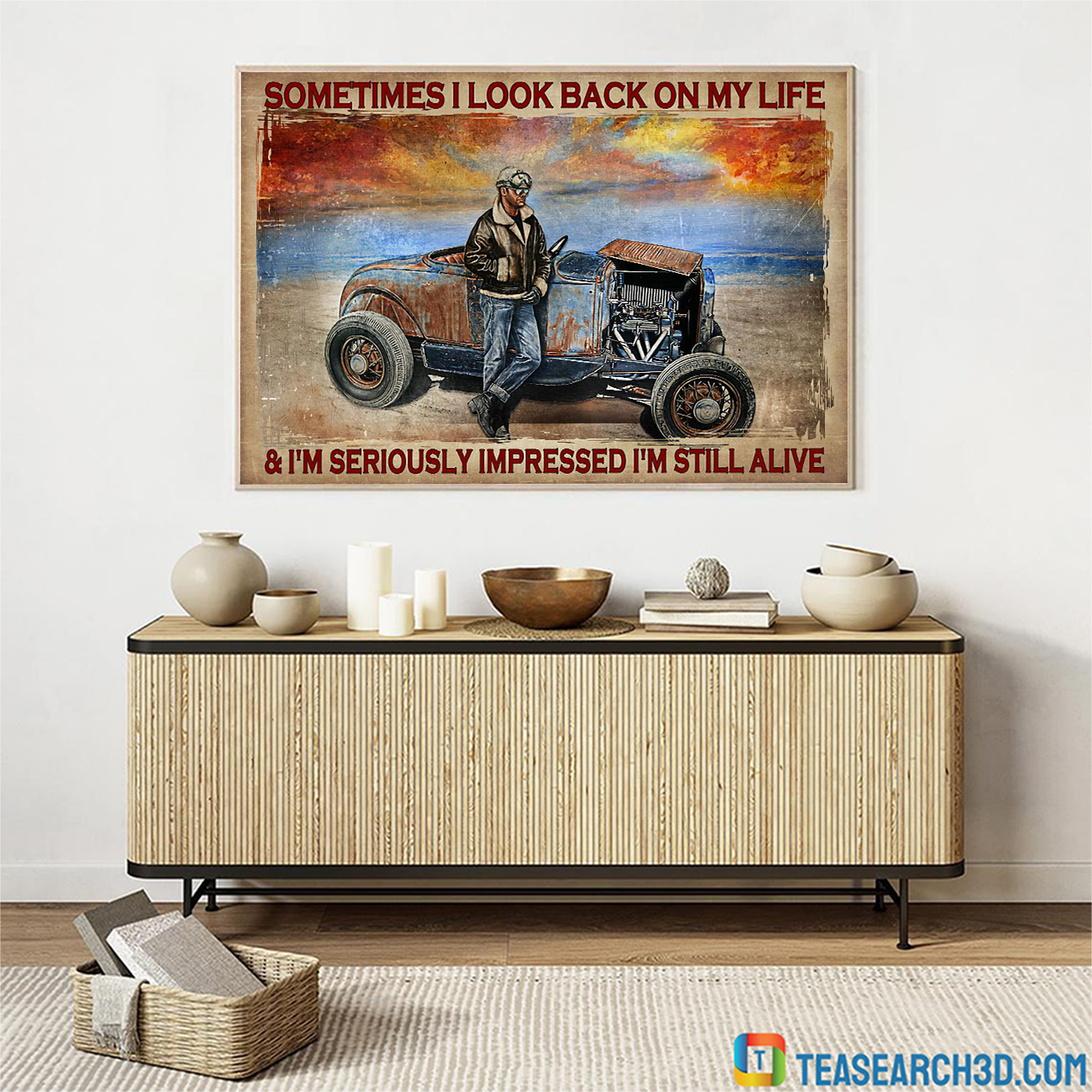Hot rod sometimes I look back on my life poster A2