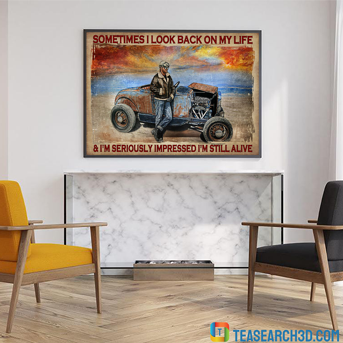Hot rod sometimes I look back on my life poster A3