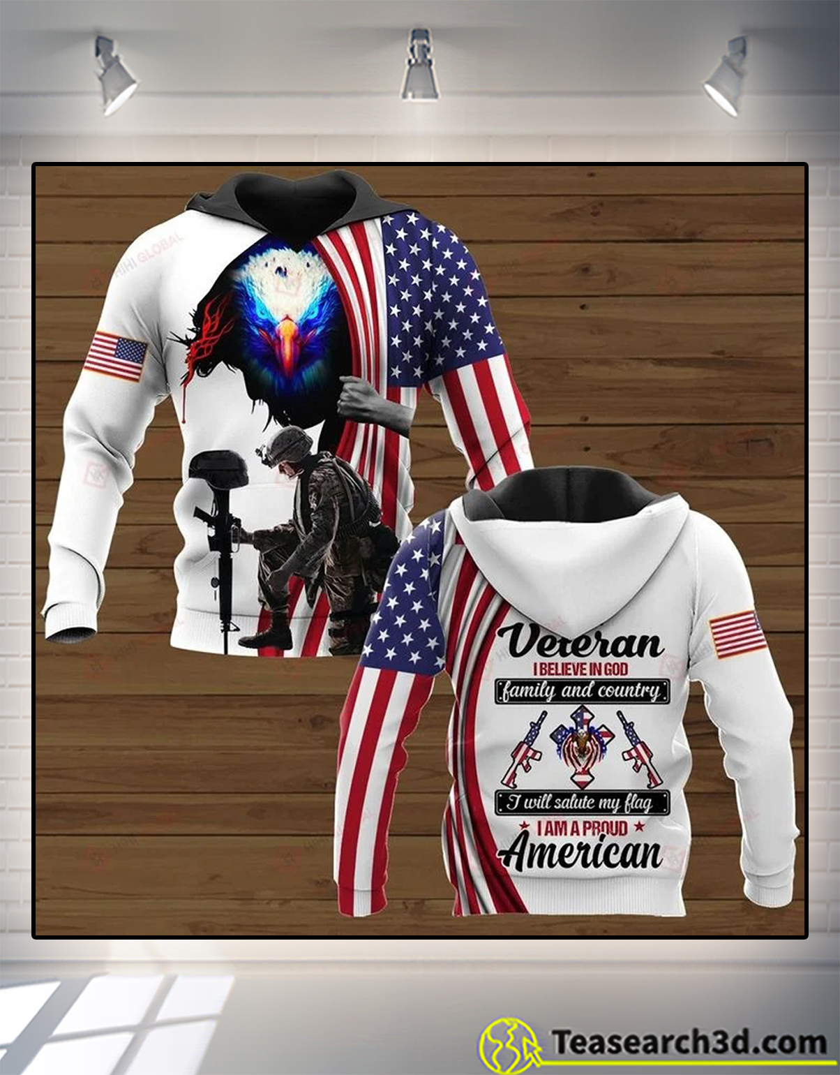 I am a veteran I believe in god family and country 3d all over printed hoodie