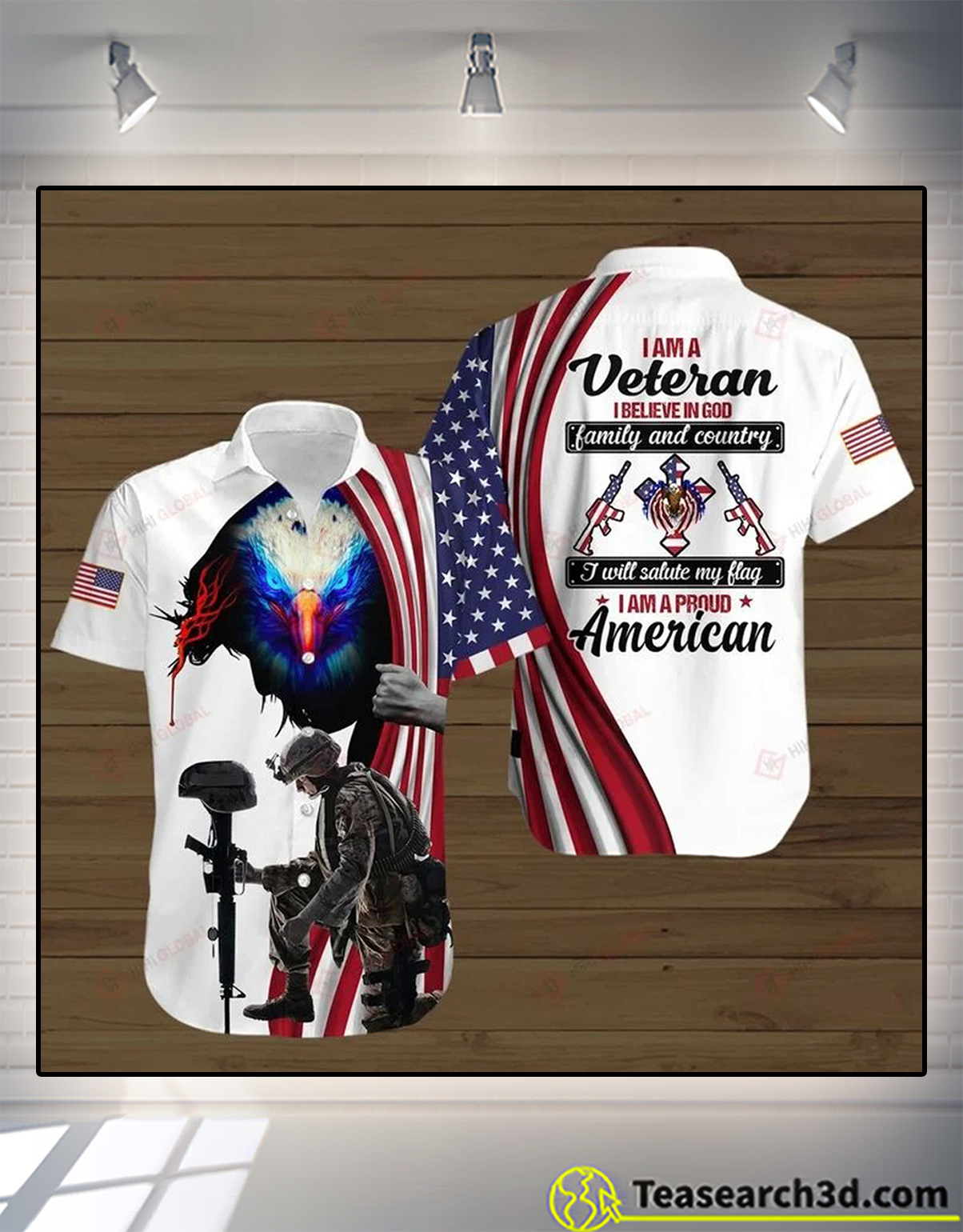 I am a veteran I believe in god family and country 3d all over printed polo