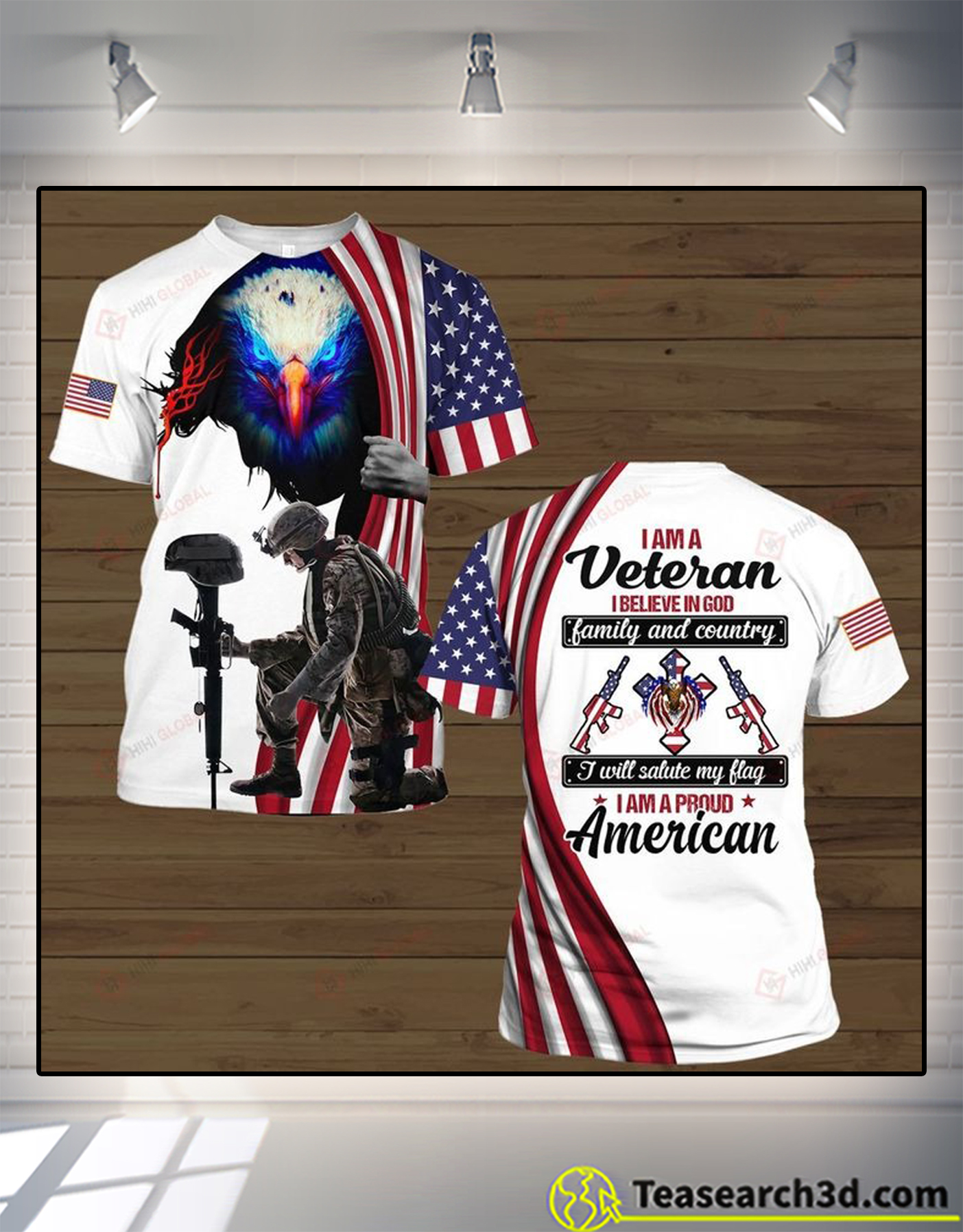 I am a veteran I believe in god family and country 3d all over printed shirt