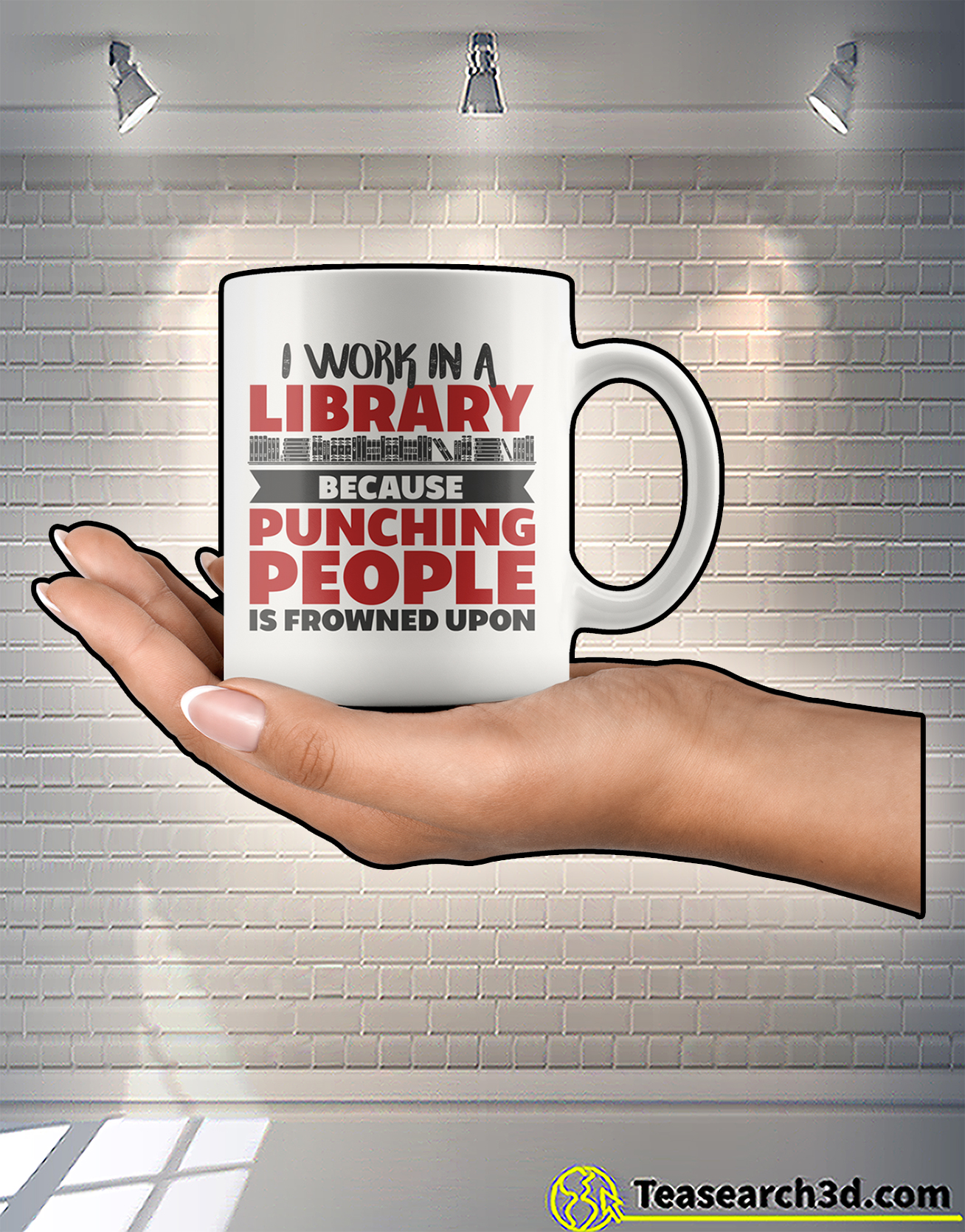 I work in a library because punching people is frowned upon mug 2