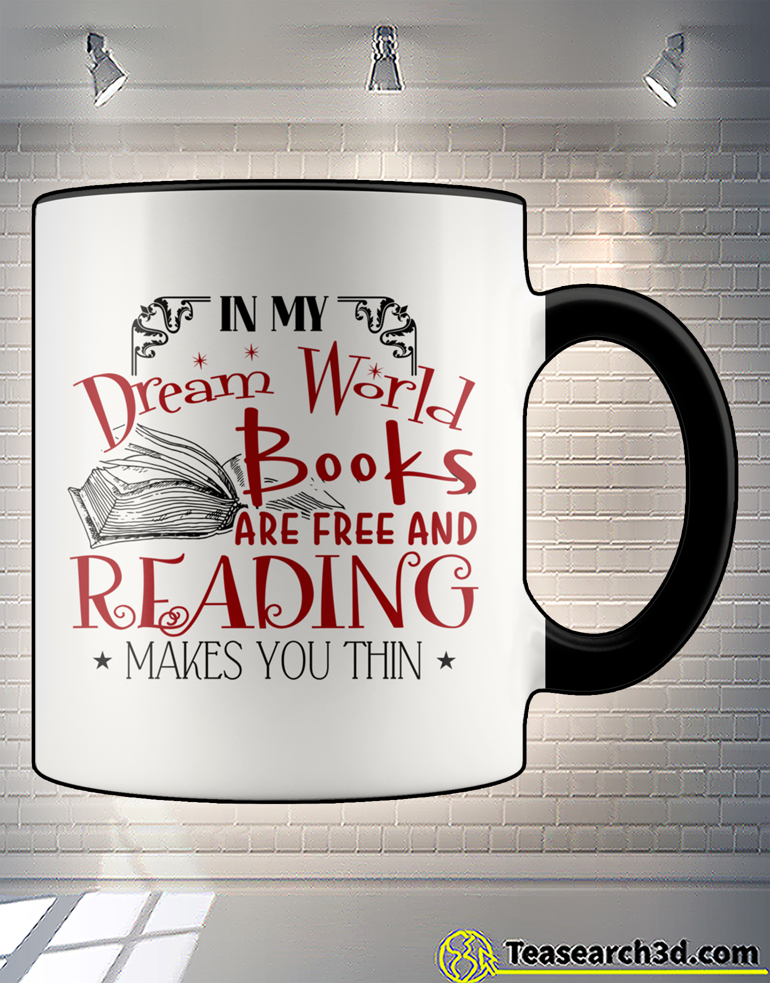 In my dream world books are free and reading makes you thin accent mug 2