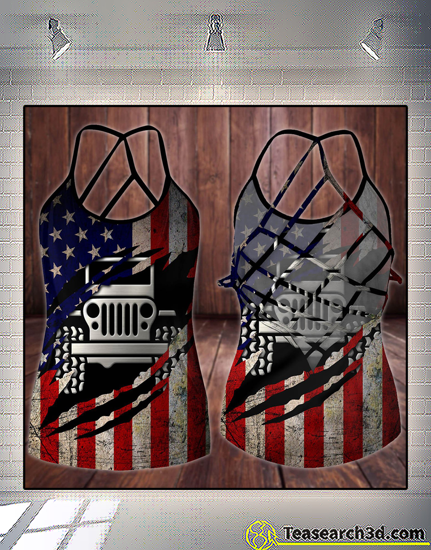 Jeep girl american flag 4th of july criss cross tank top 1
