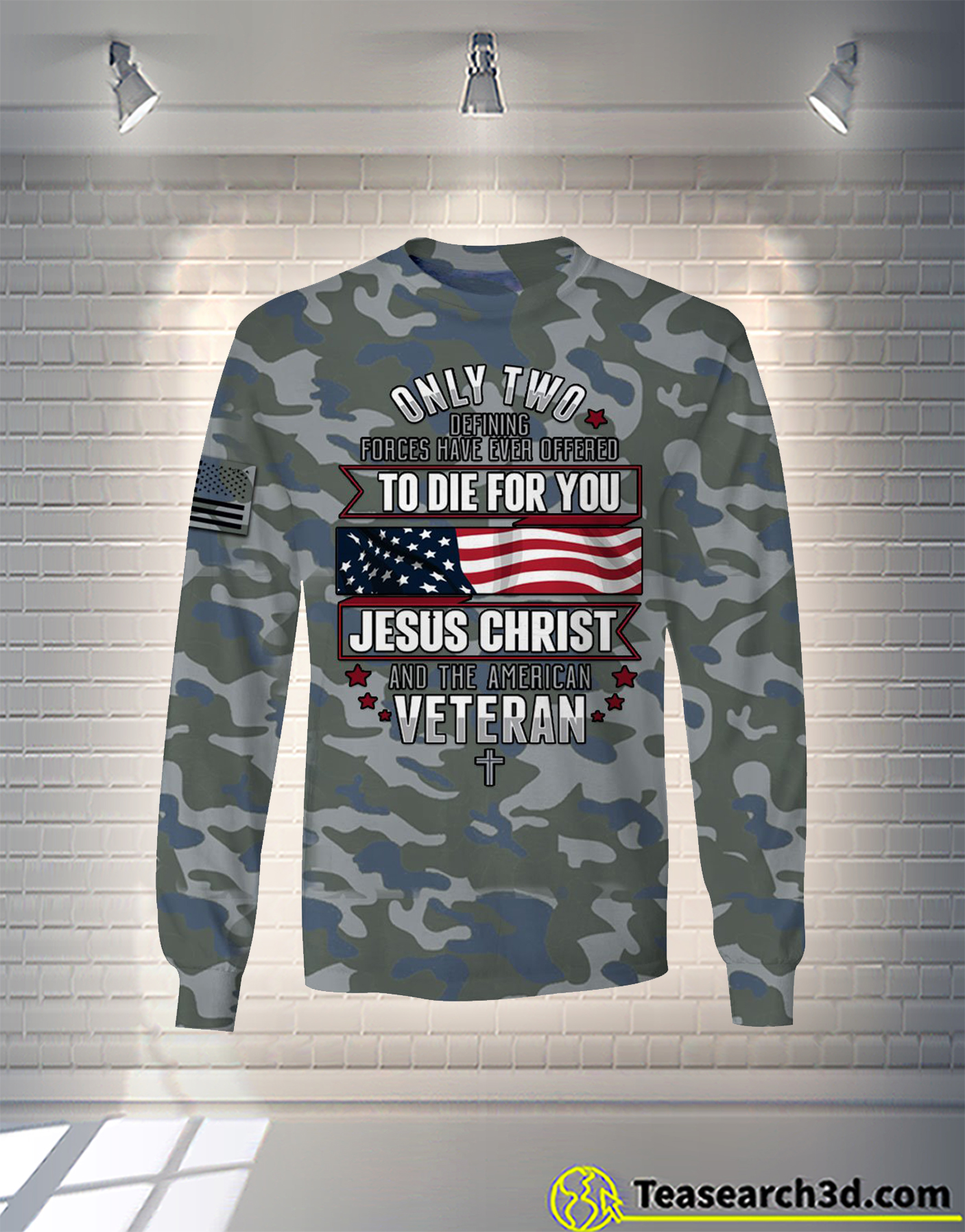 Jesus christ and the american veteran camo all over printed long sleeve