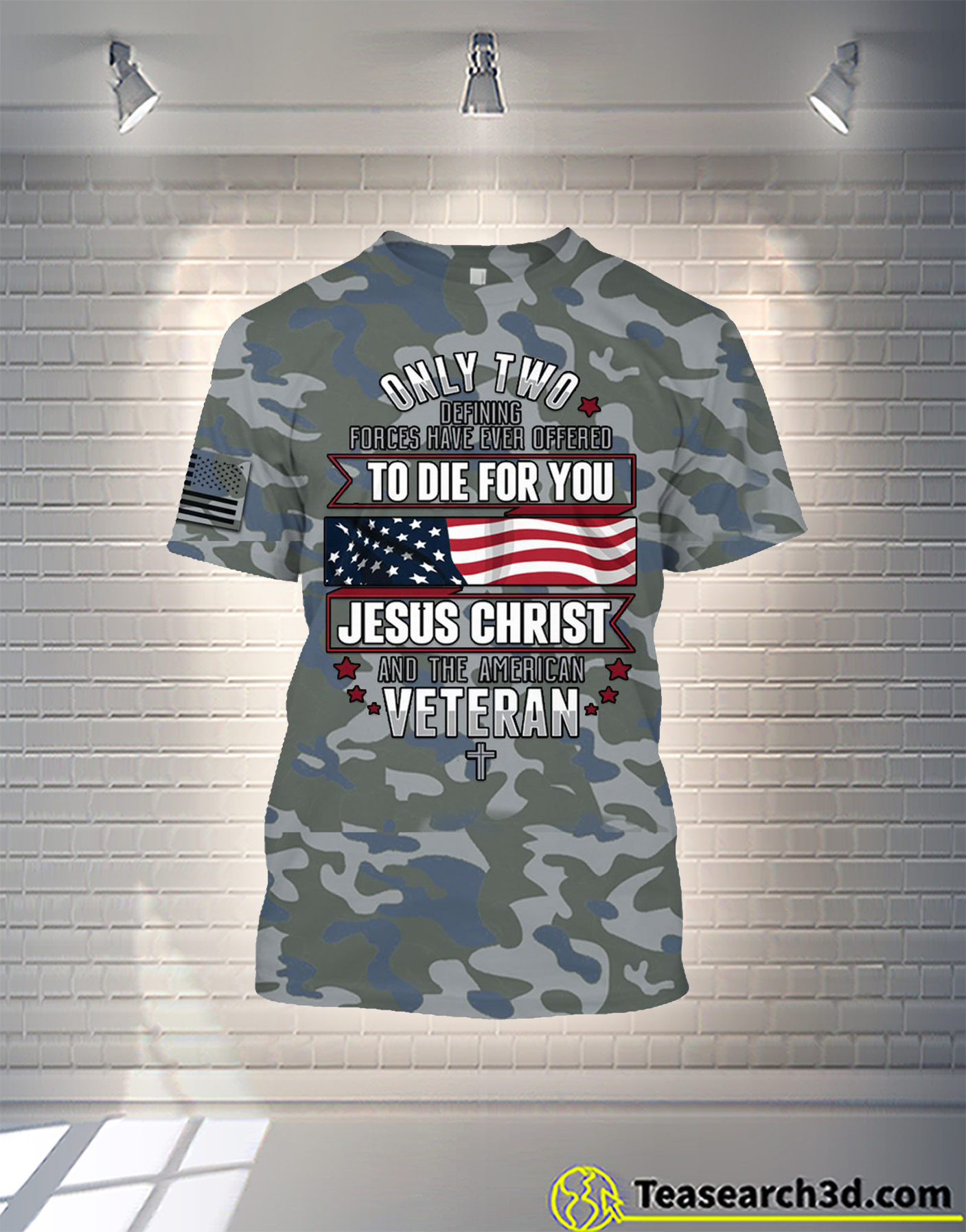 Jesus christ and the american veteran camo all over printed shirt