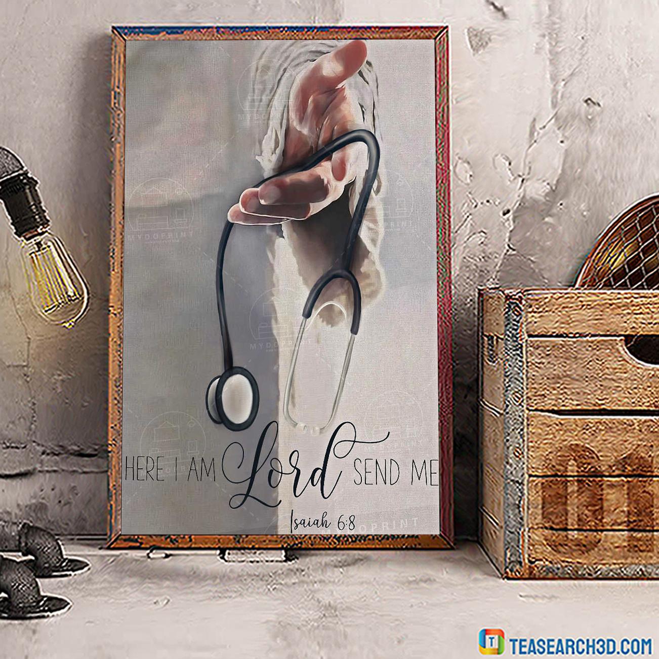 Jesus god's hand nurse here I am lord send me poster A1