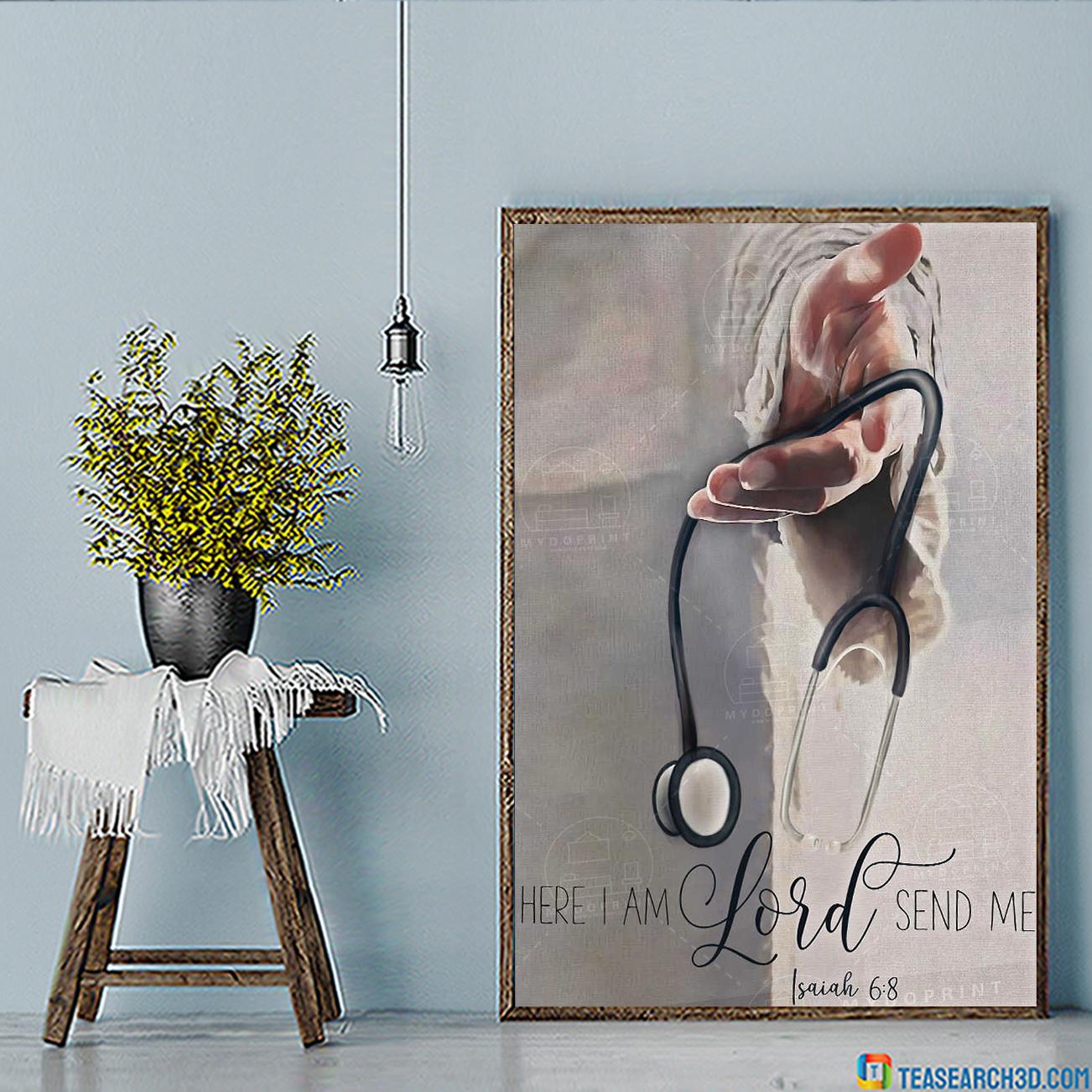 Jesus god's hand nurse here I am lord send me poster A3