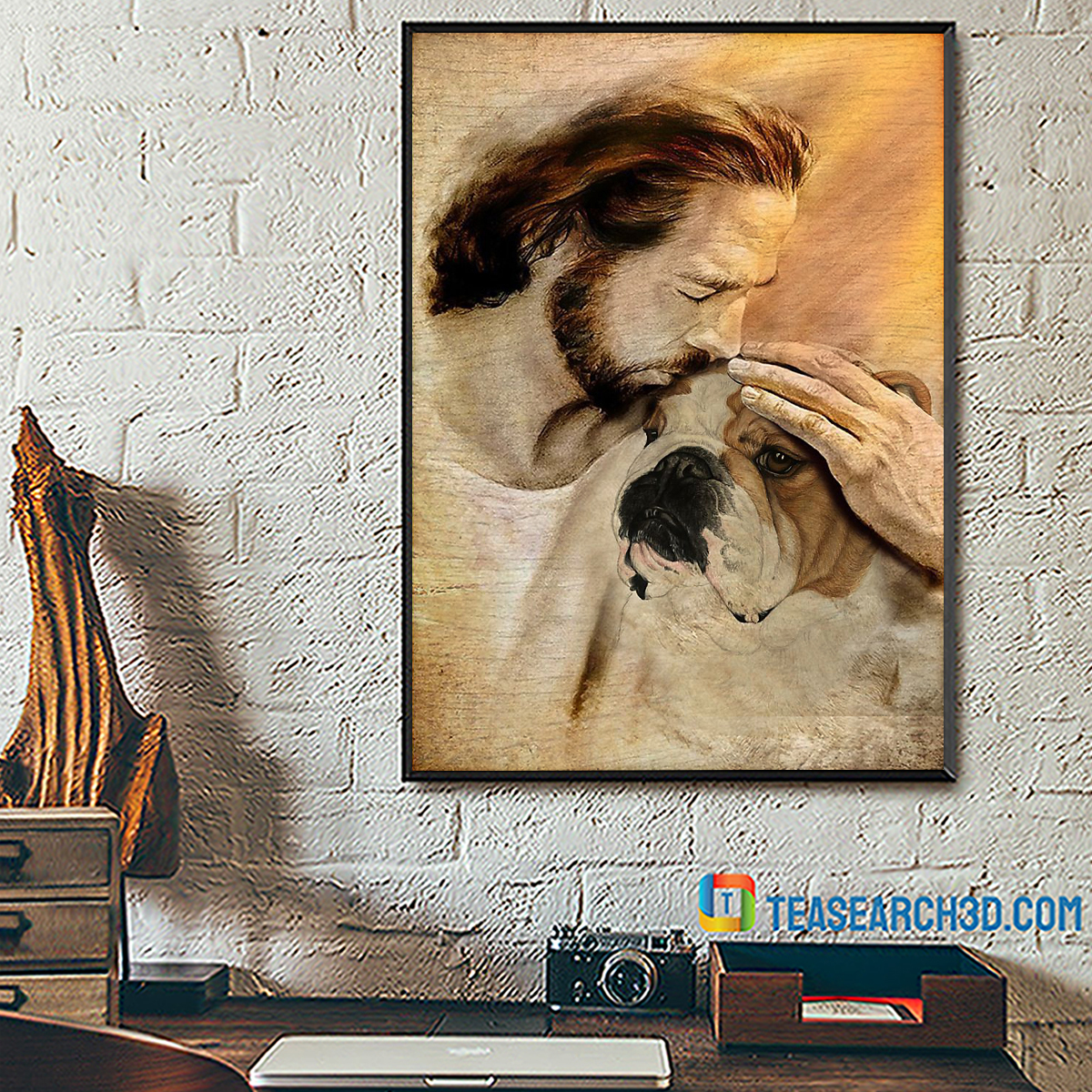 Jesus with lovely Bulldog poster A1
