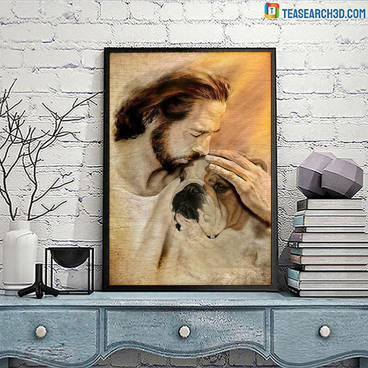Jesus with lovely Bulldog poster A2