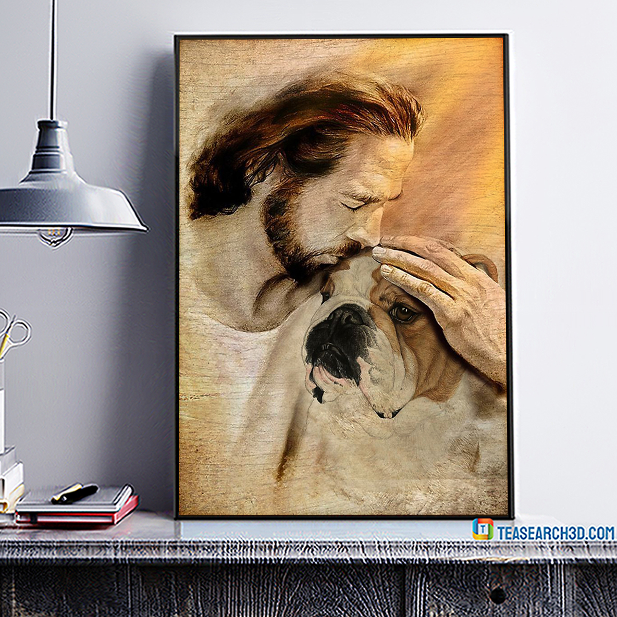 Jesus with lovely Bulldog poster A3
