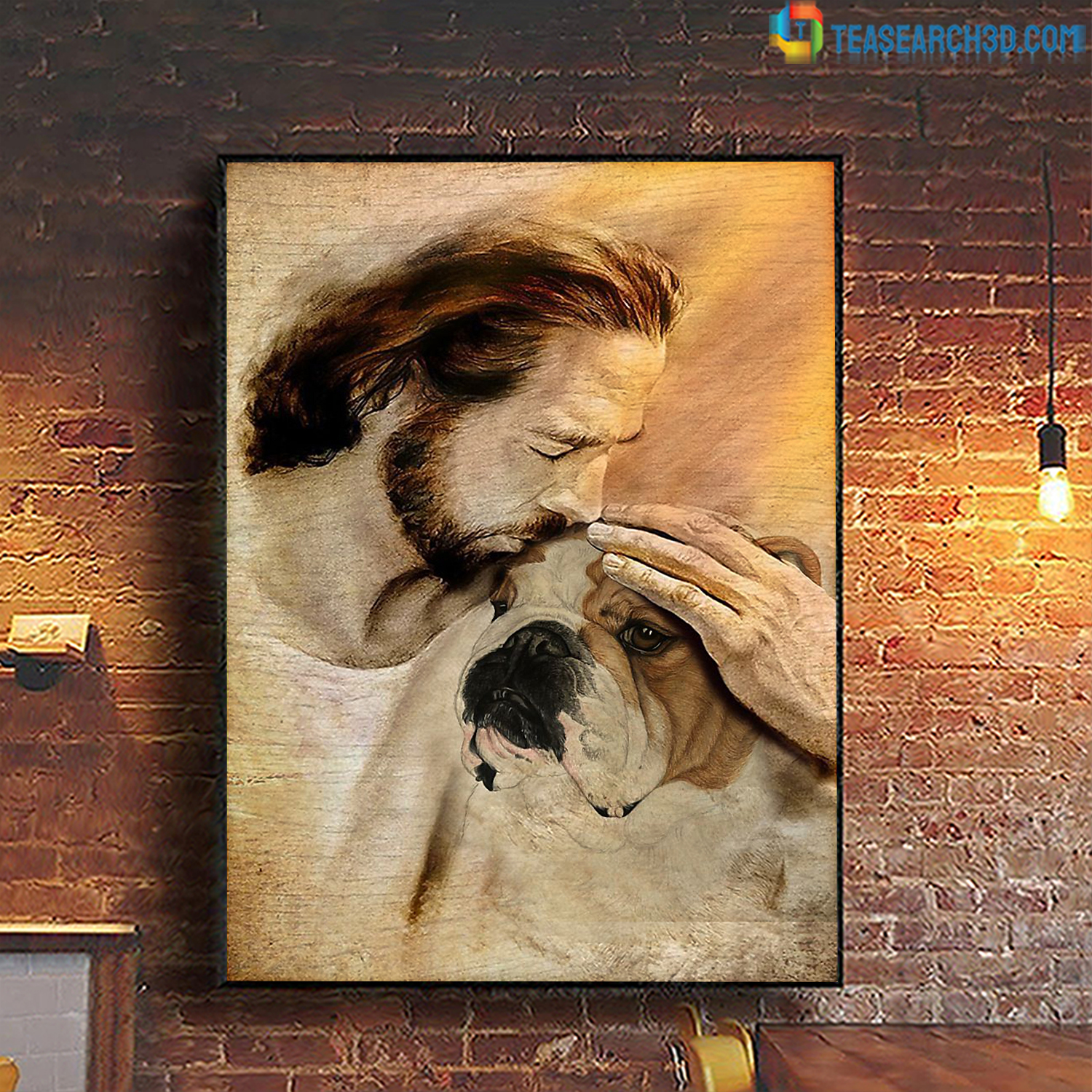 Jesus with lovely Bulldog poster