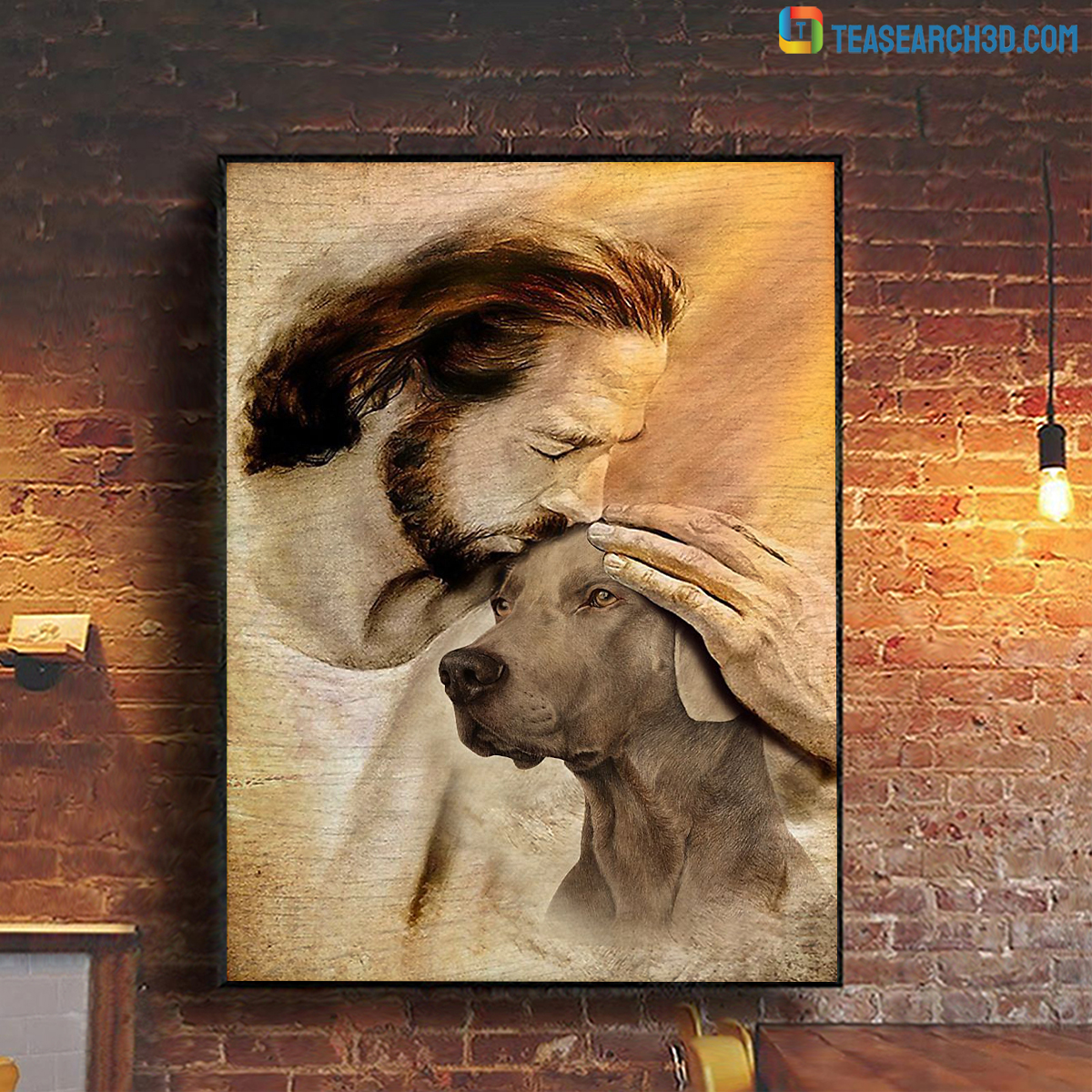 Jesus with lovely Weimaraner poster A1