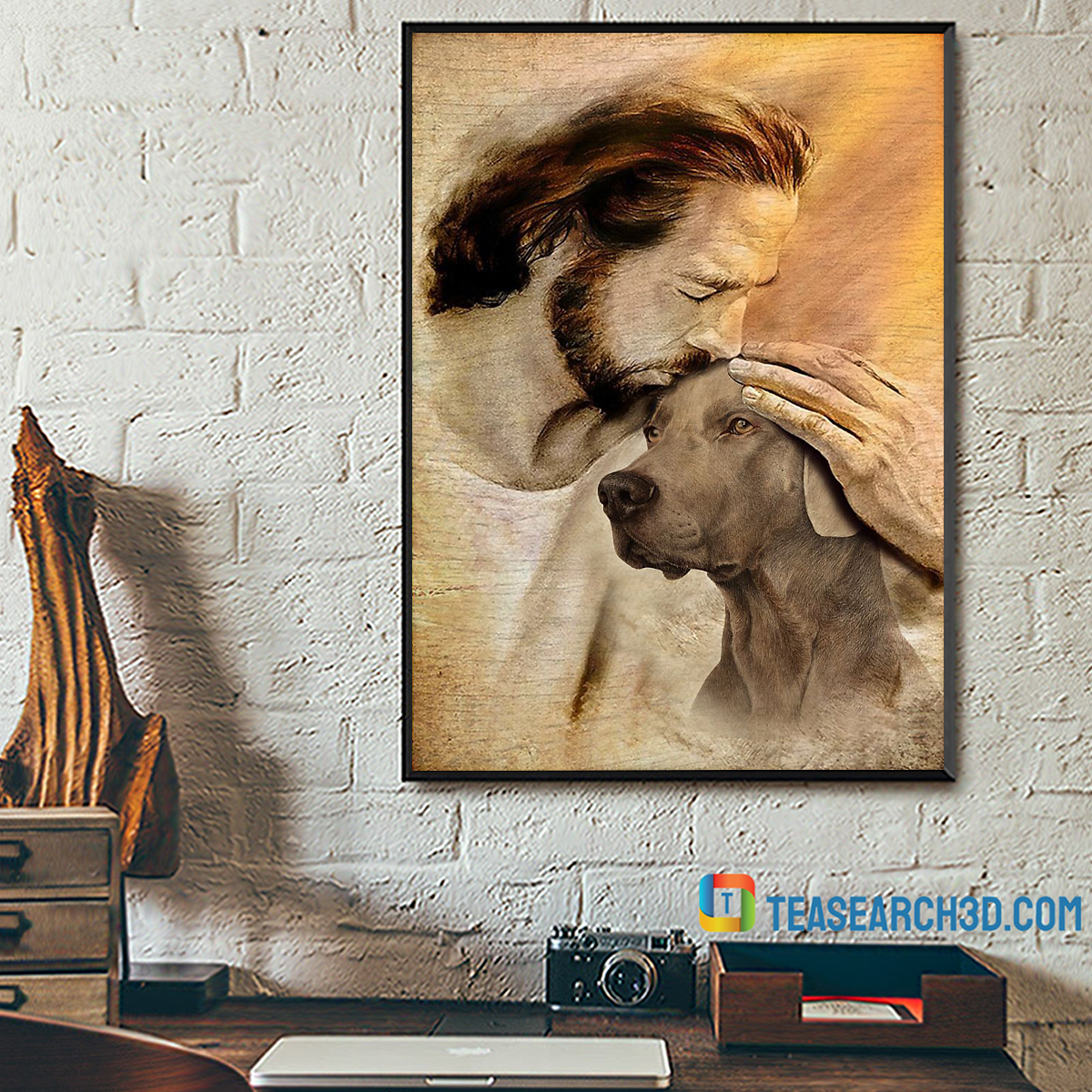 Jesus with lovely Weimaraner poster A2