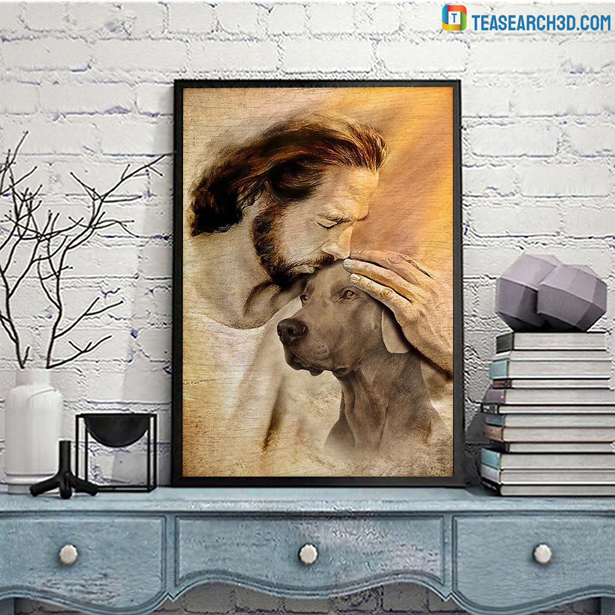 Jesus with lovely Weimaraner poster A3