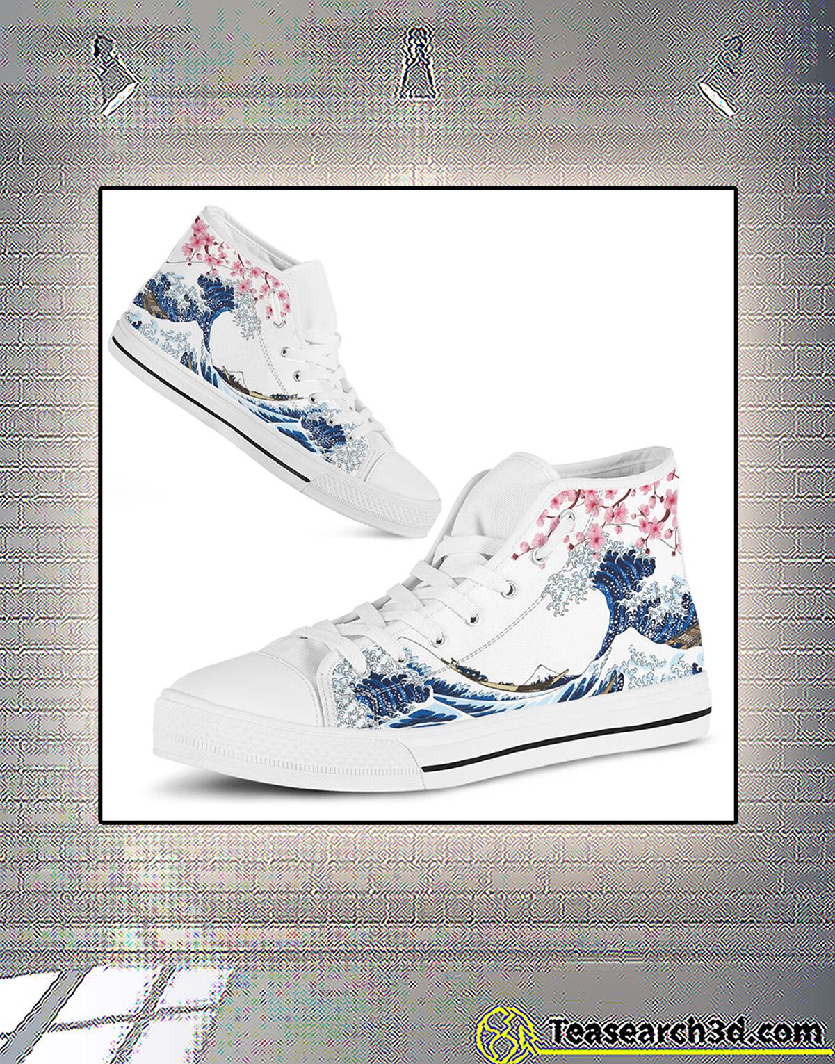 Kanagawa wave sakura cherry blossom japanese high top shoe 3