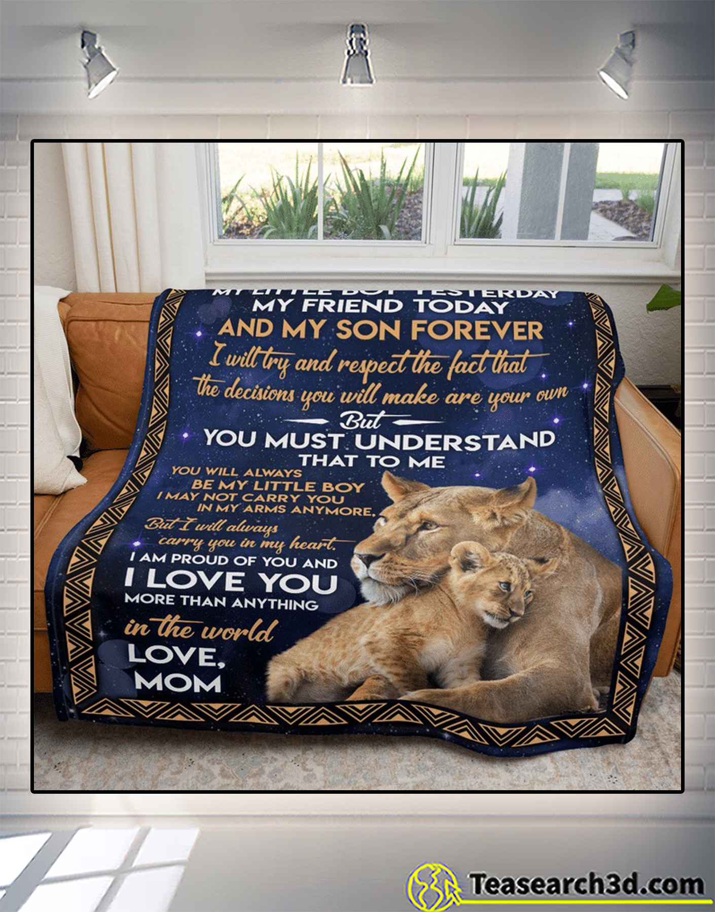 Lion to my son my little boy yesterday my friend today blanket 2