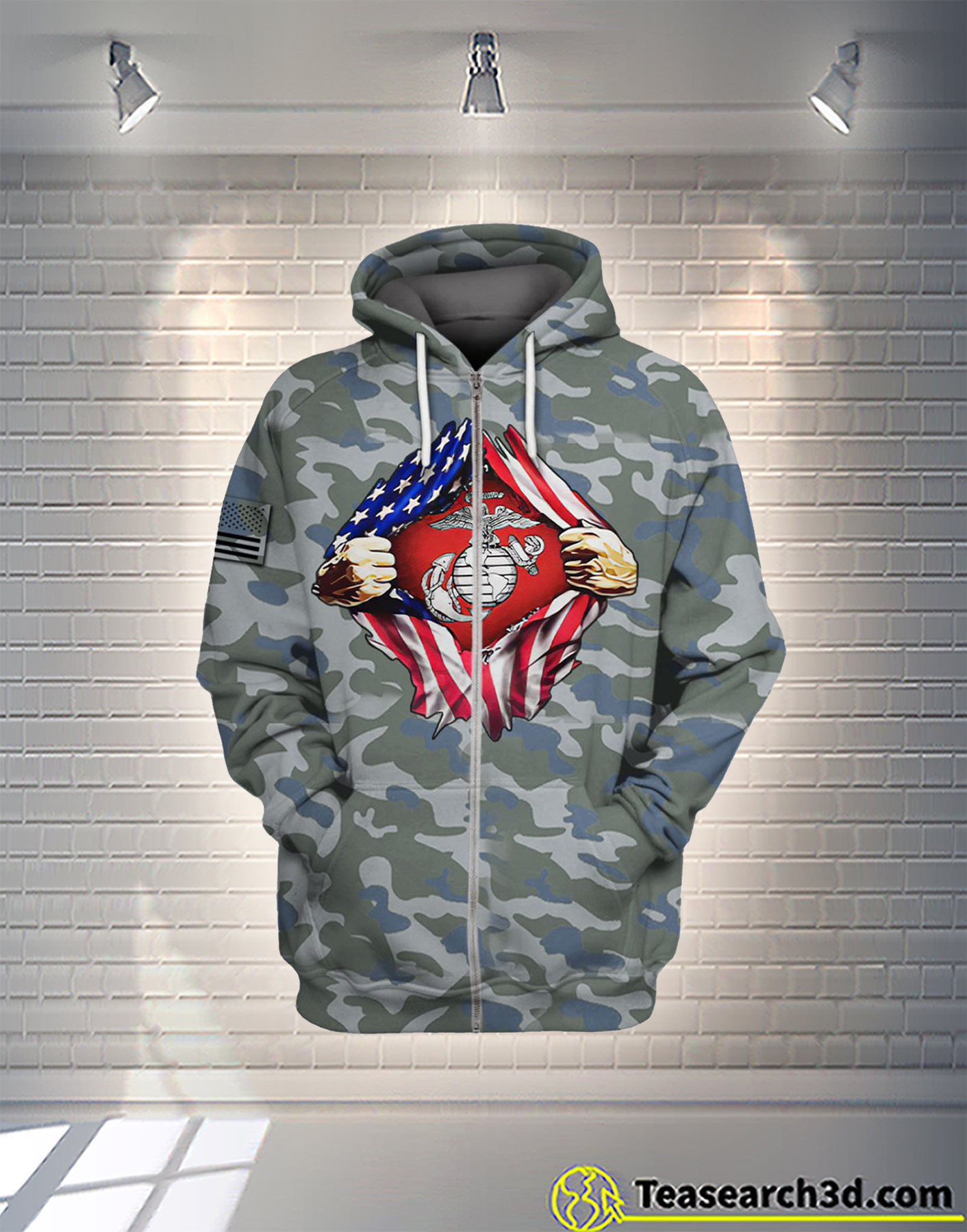 Marine corp veteran american flag independence day camo all over printed zip hoodie