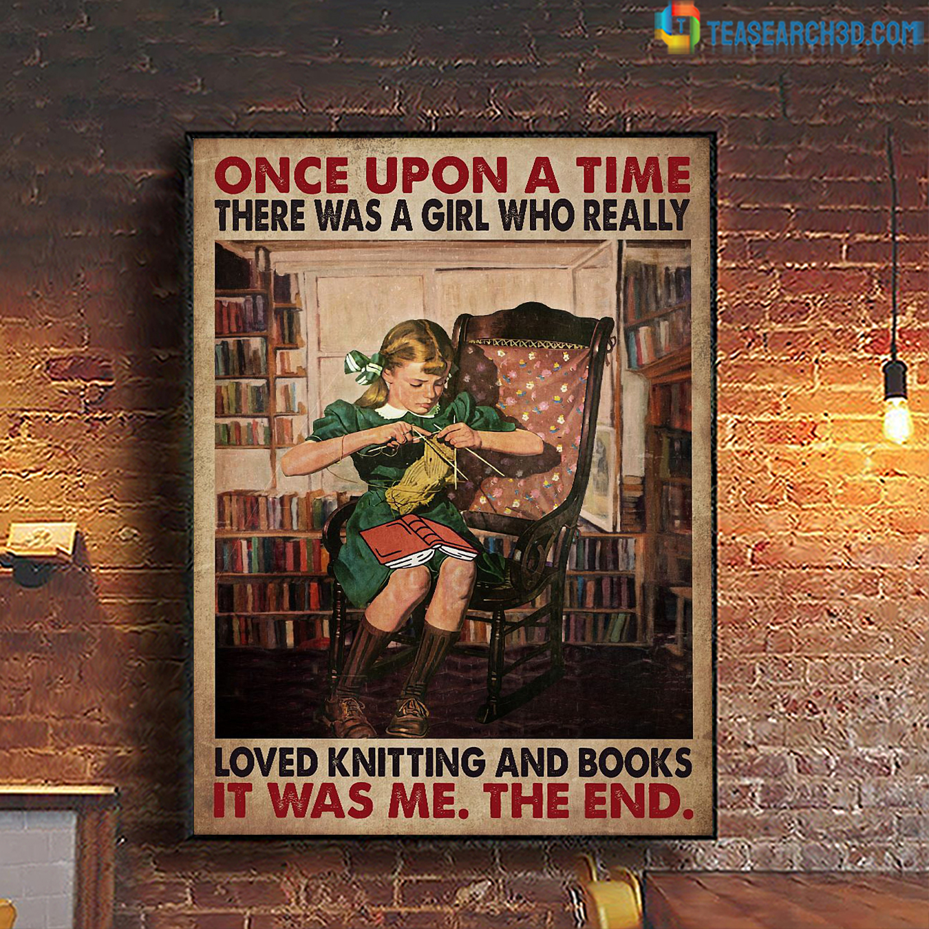 Once upon a time there was a girl who really loved knitting and books poster A2