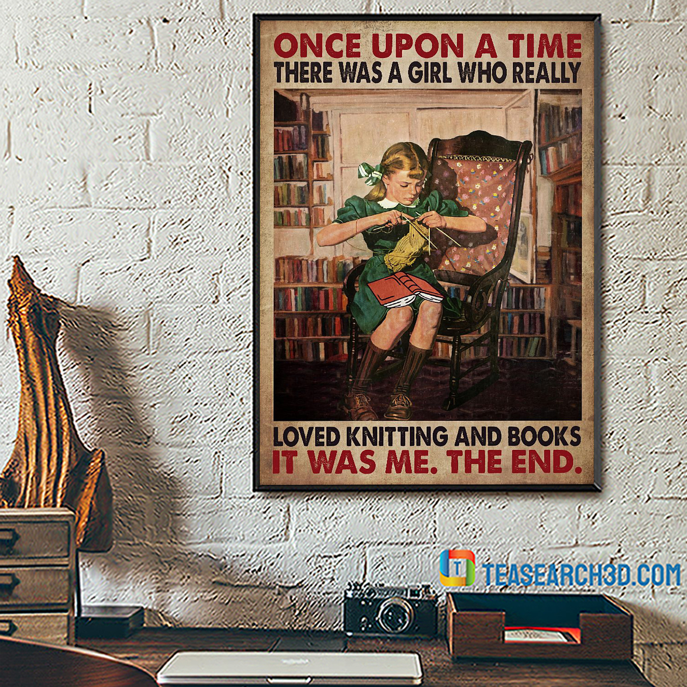 Once upon a time there was a girl who really loved knitting and books poster A3