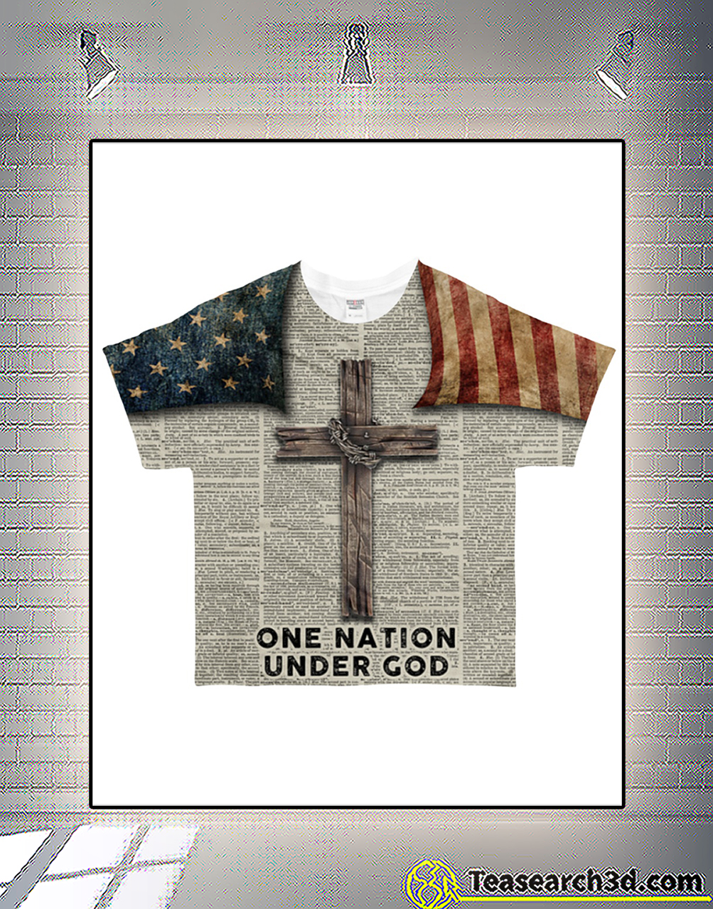 One Nation Under God all over printed 3d shirt frot