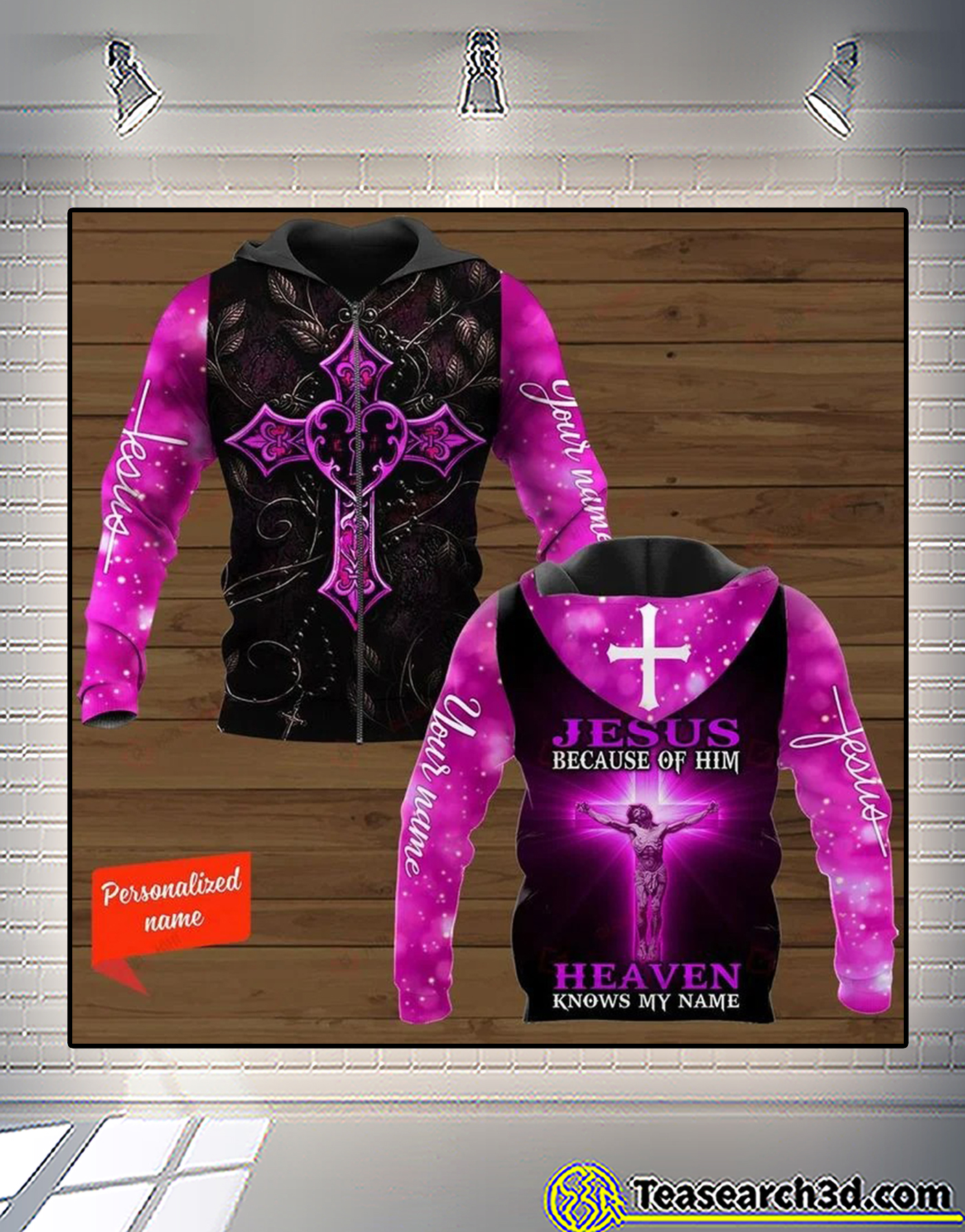 Personalized Cross jesus because of him heaven knows my name 3d all over printed sweatshirt