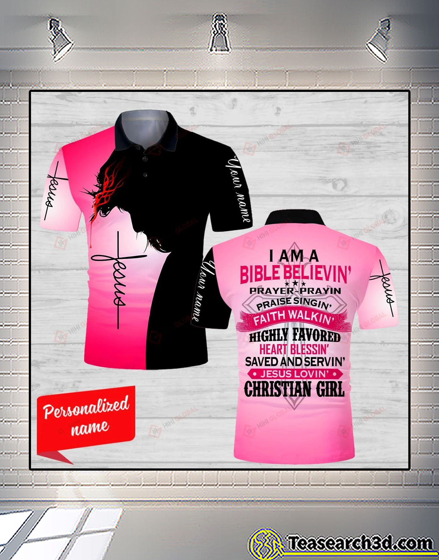 Personalized Jesus I am a bible believin' prayer prayin 3d all over printed polp shirt