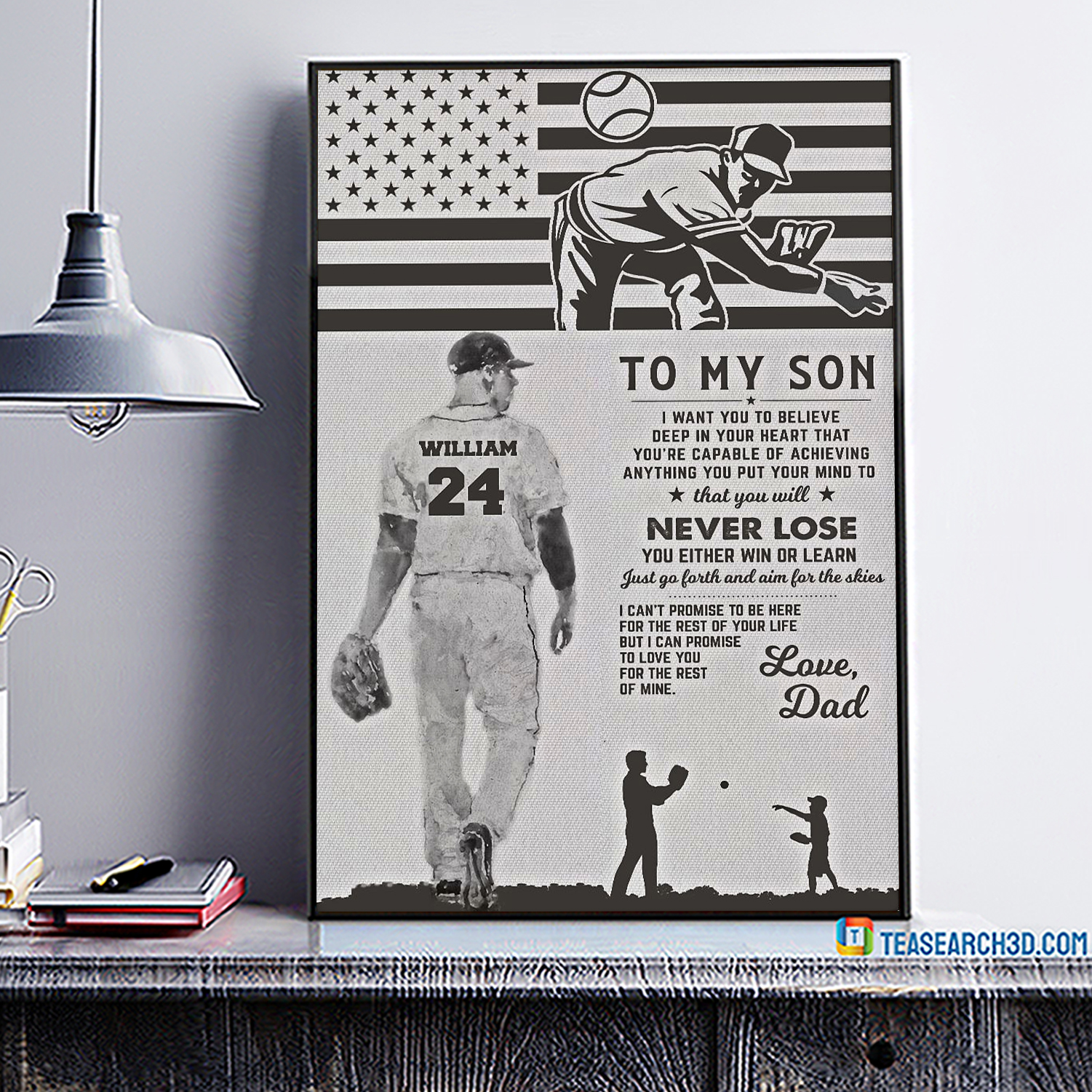 Personalized baseball to my son love dad poster