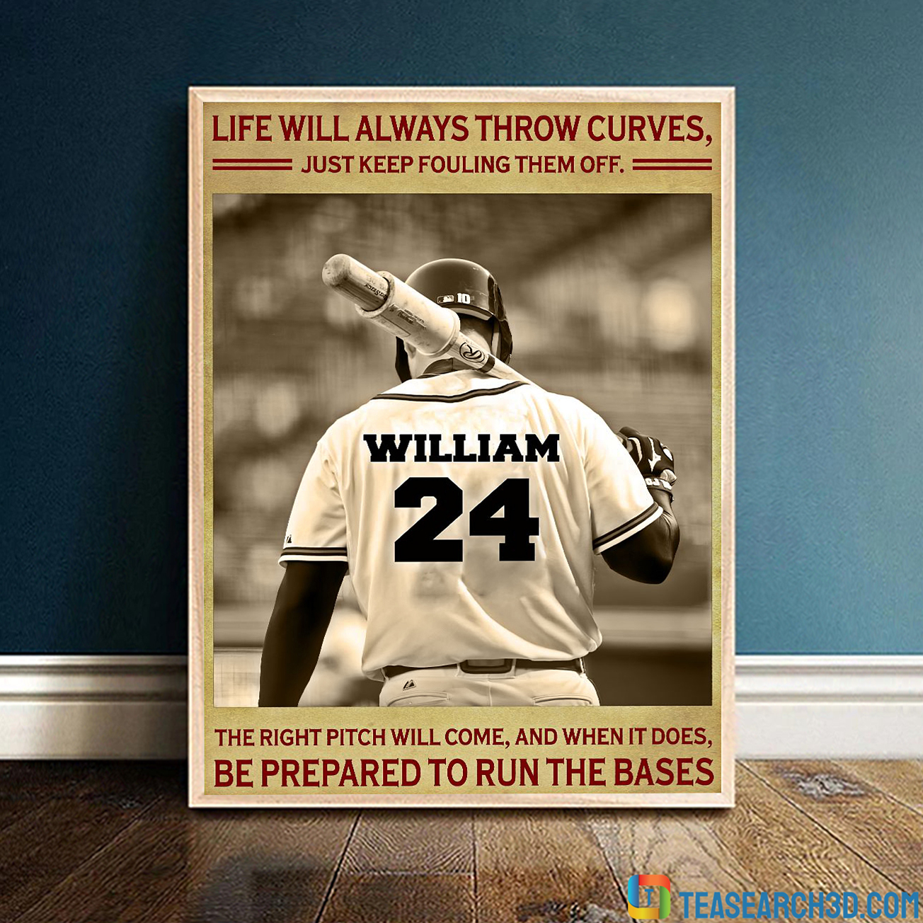 Personalized custom name Baseball life will always throw curves poster