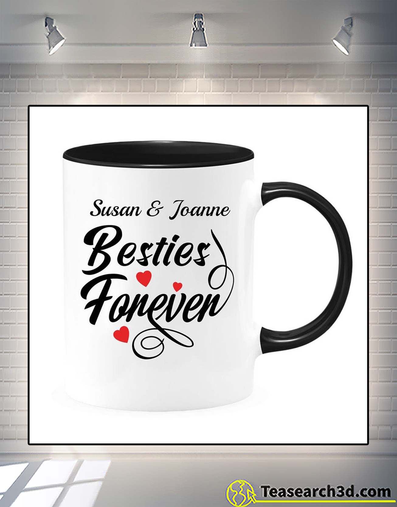 Personalized custom name besties foneven accent mug 1