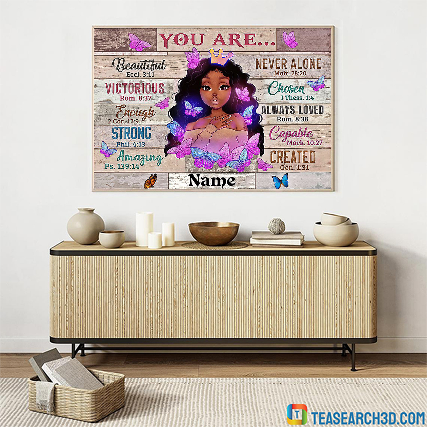 Personalized custom name black girl you are beautiful black teenage poster A2