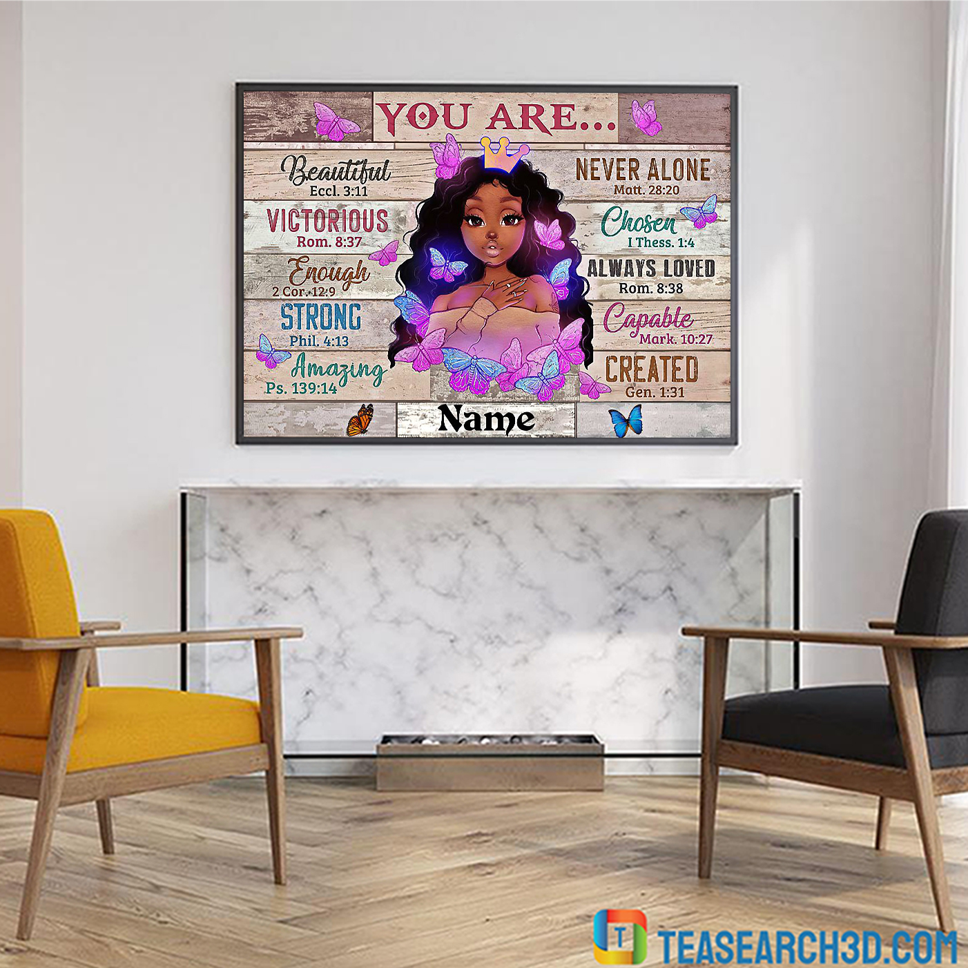 Personalized custom name black girl you are beautiful black teenage poster A3