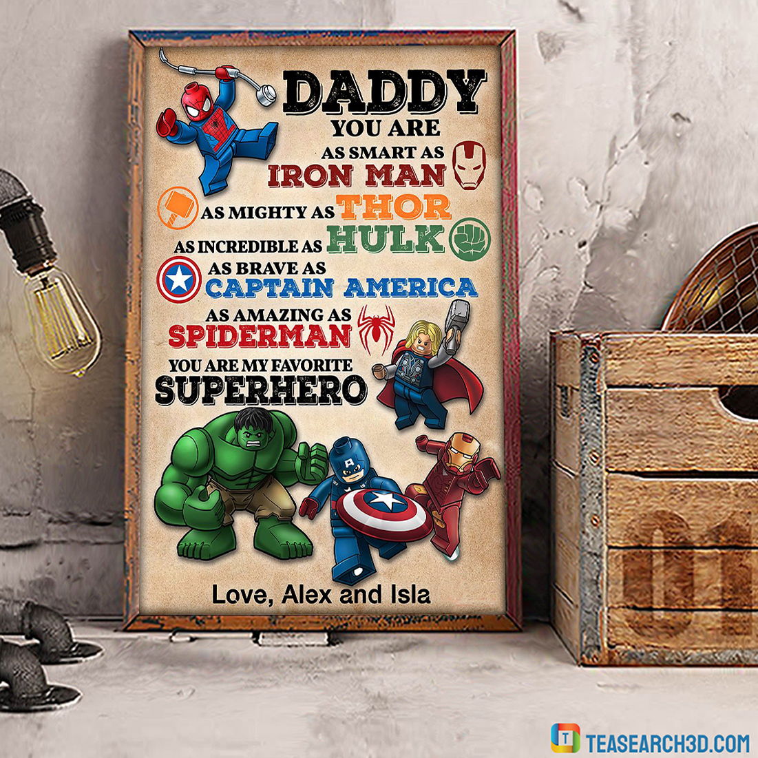 Personalized custom name daddy superhero avengers poster A1