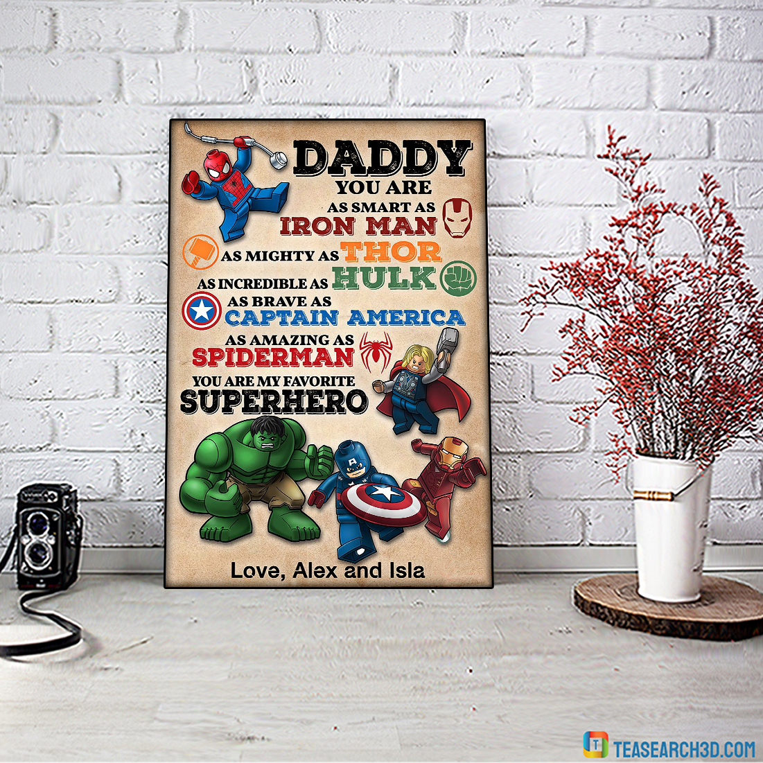 Personalized custom name daddy superhero avengers poster A2
