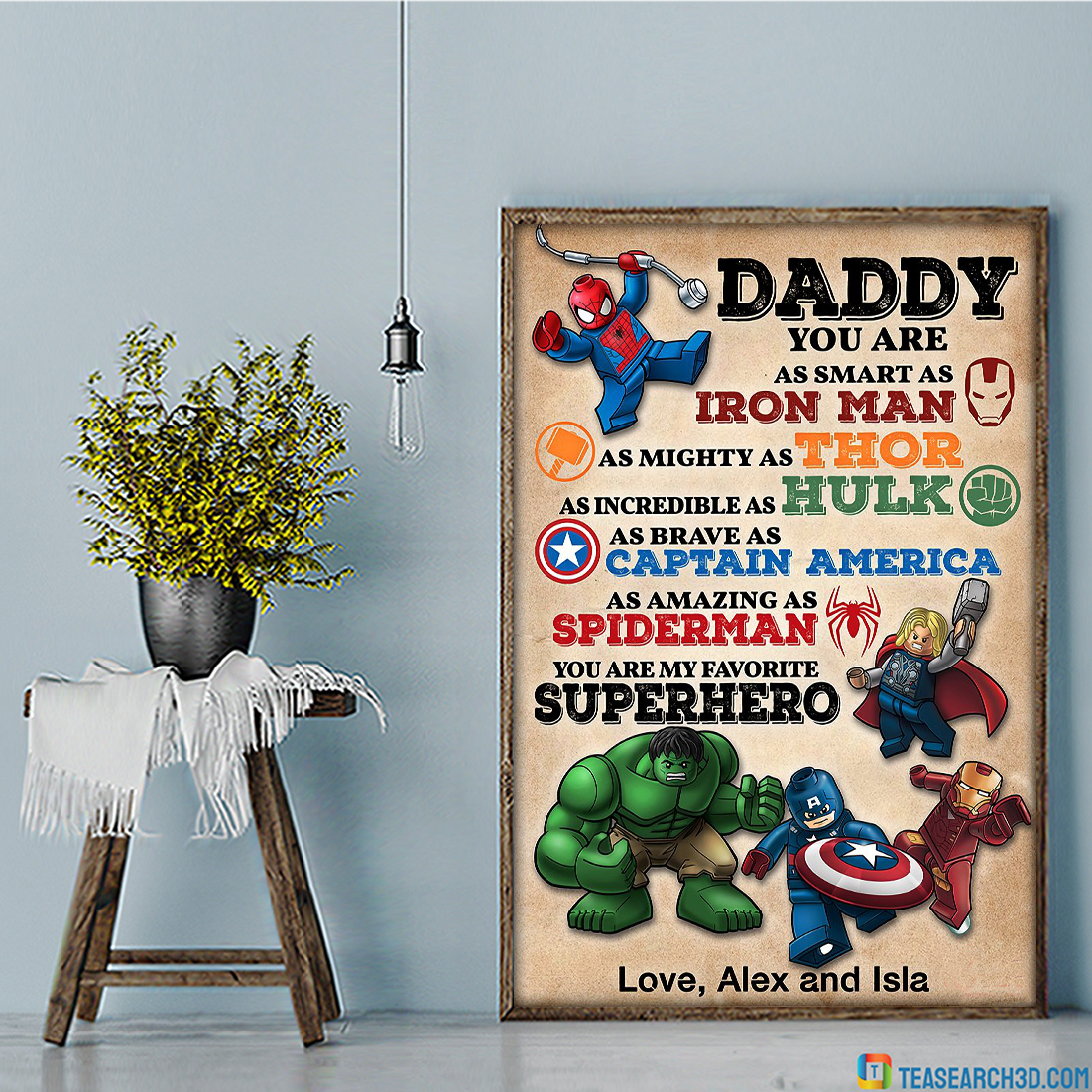 Personalized custom name daddy superhero avengers poster A3