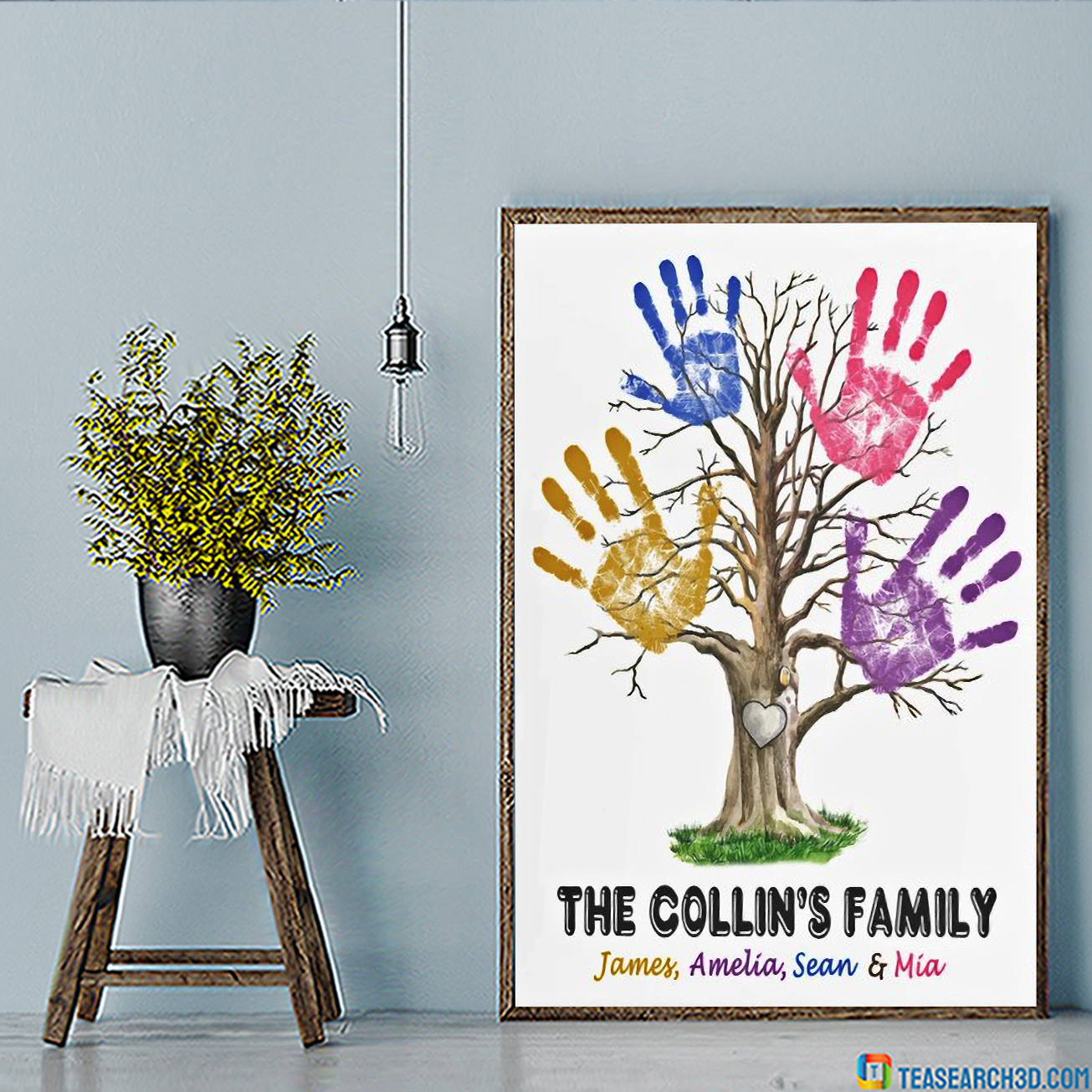 Personalized custom name hand print family tree poster A1