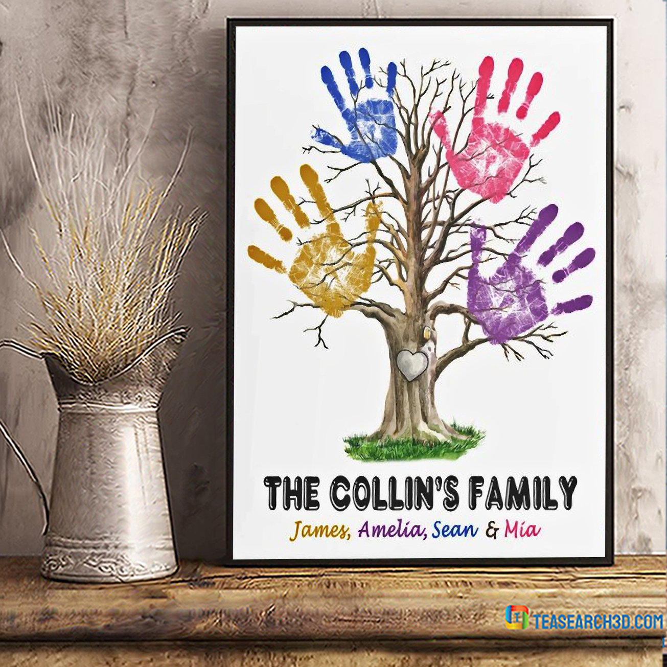Personalized custom name hand print family tree poster A2