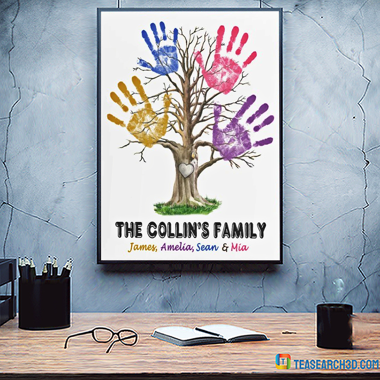 Personalized custom name hand print family tree poster A3