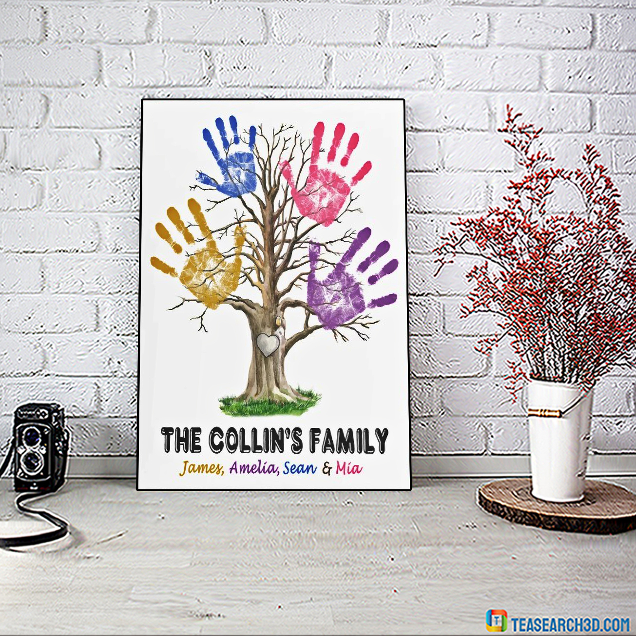 Personalized custom name hand print family tree poster