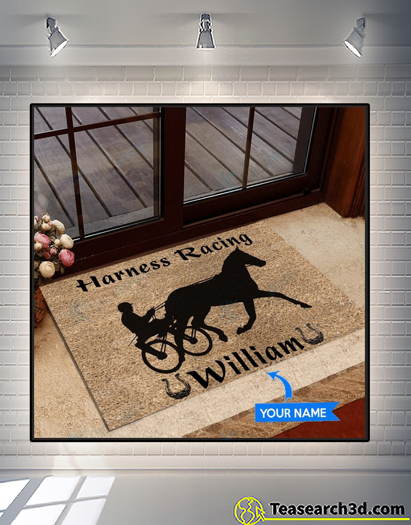 Personalized custom name harness racing doormat 1