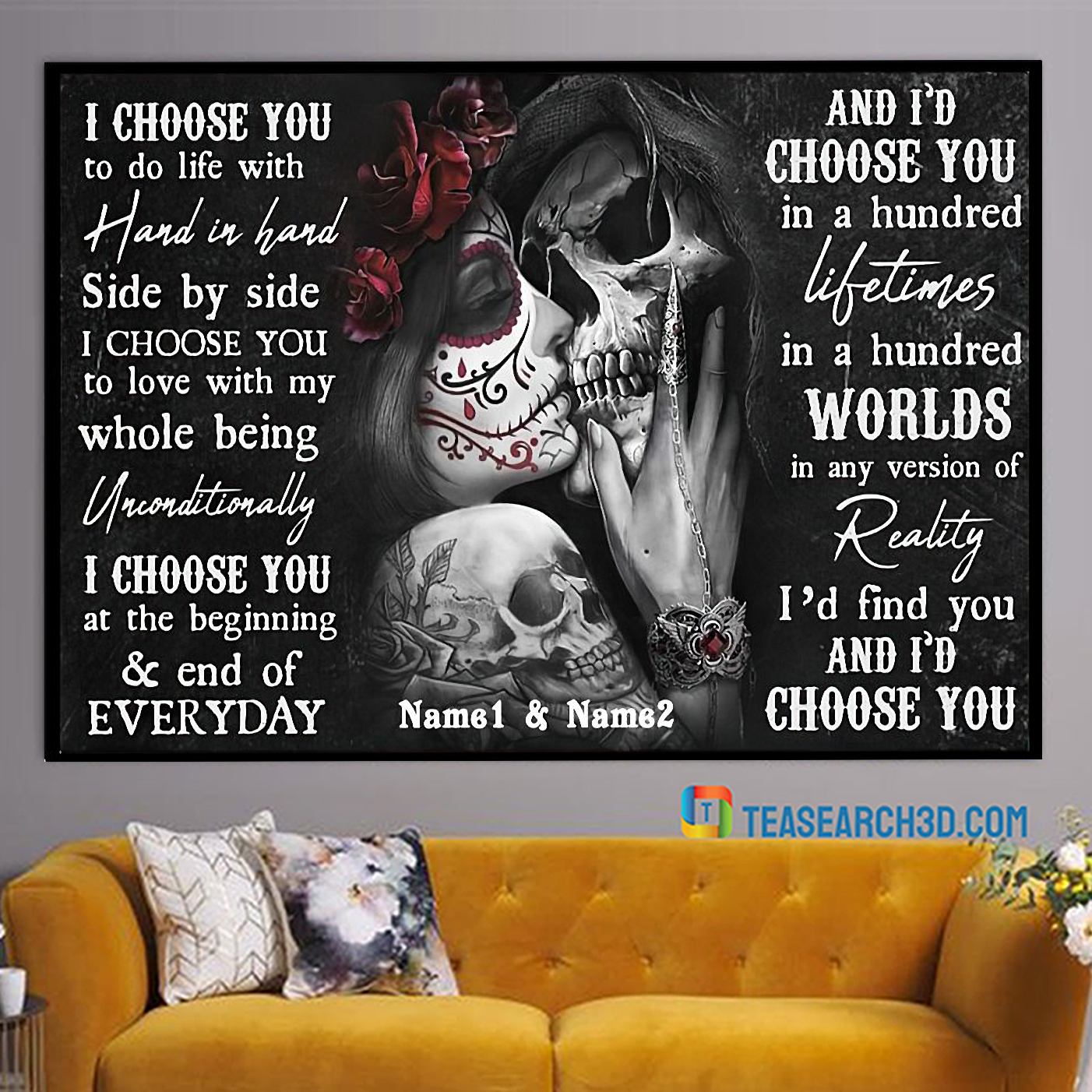 Personalized custom name sugar skull couple I choose you to do life poster