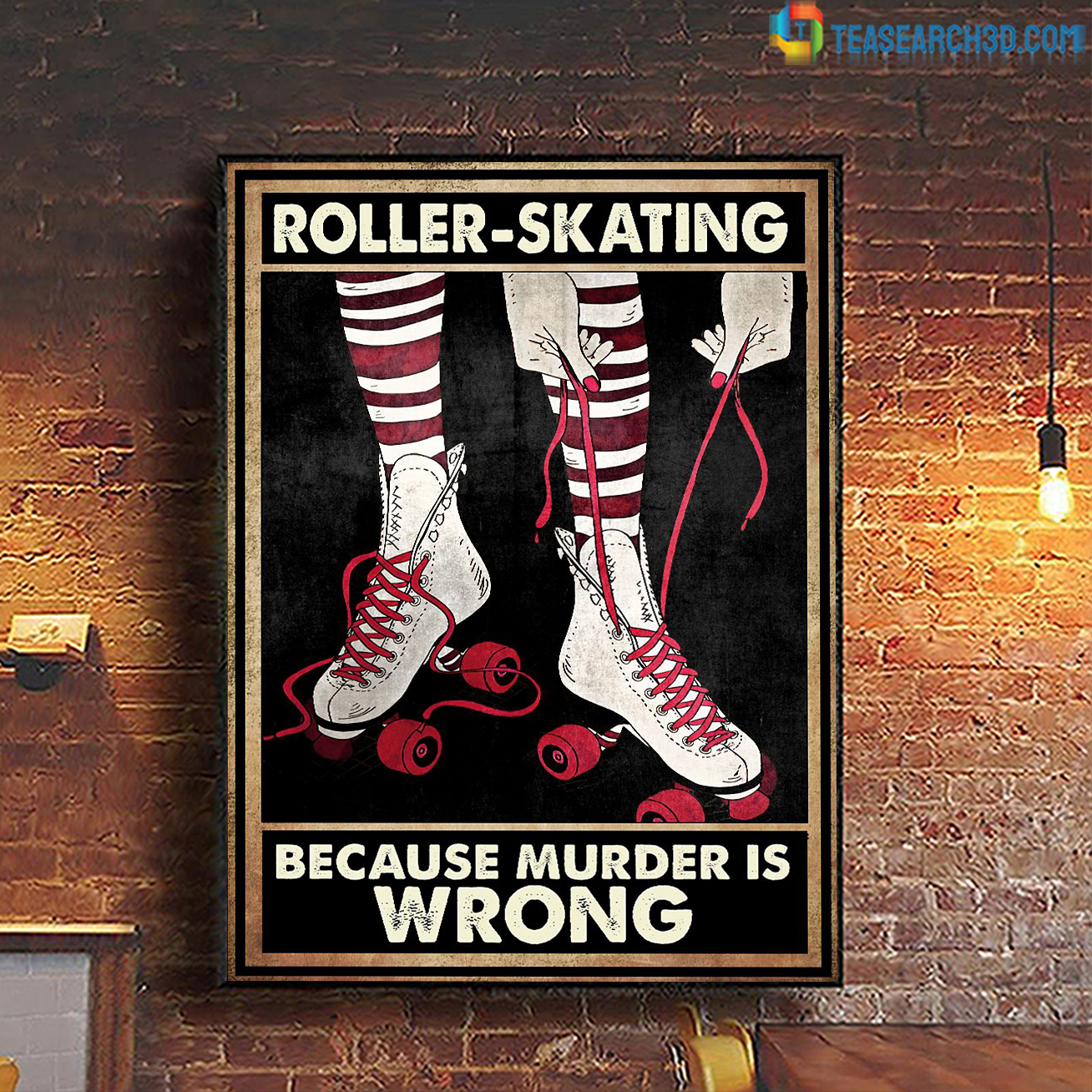 Roller skating because murder is wrong poster A2
