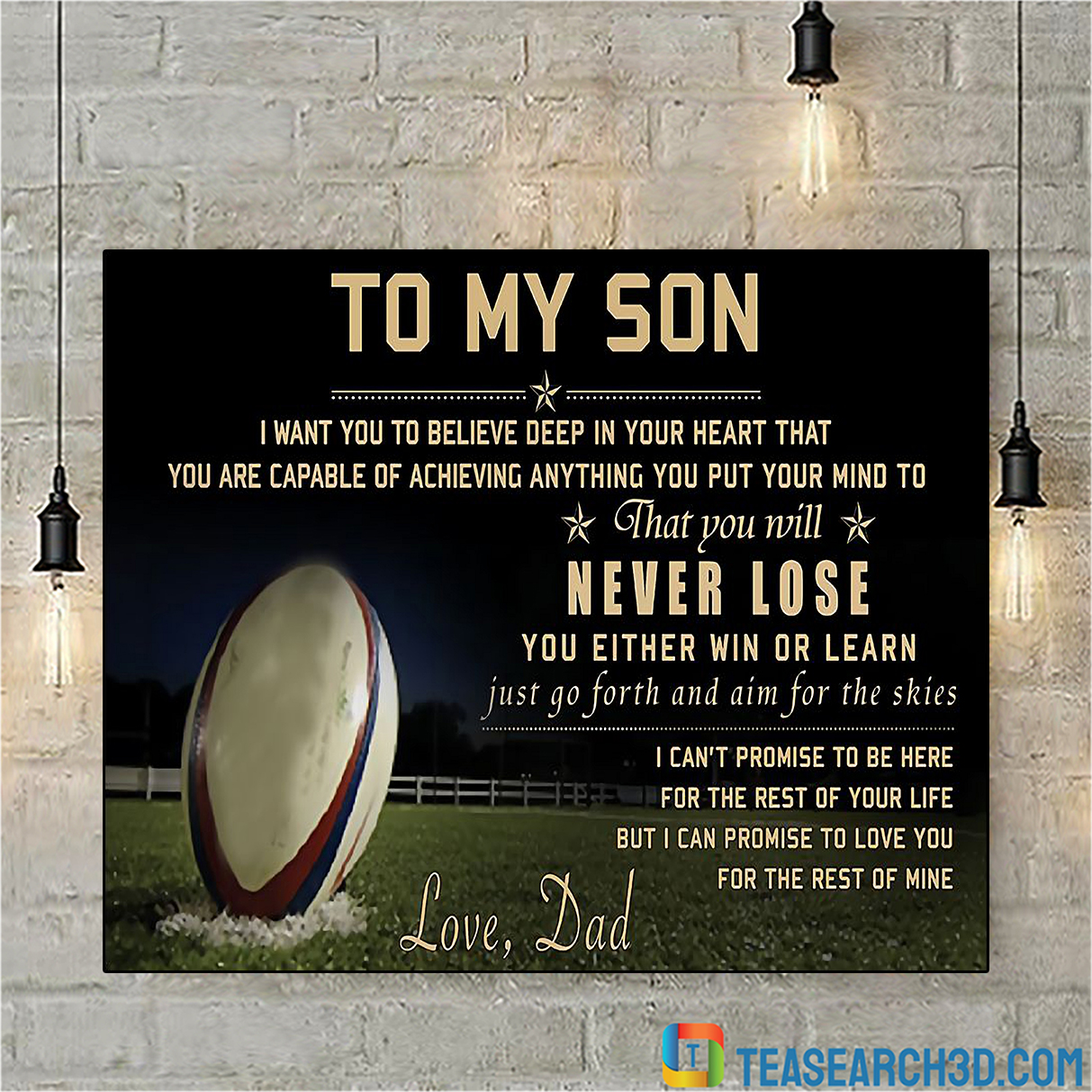 Rugby to my son love dad poster A2