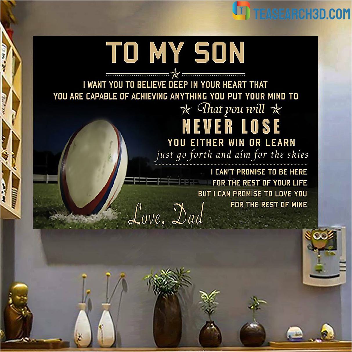 Rugby to my son love dad poster A3