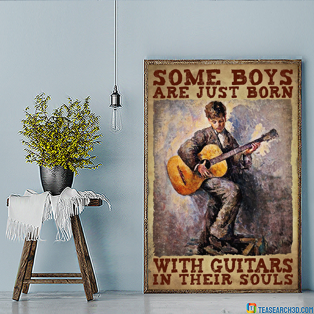 Some boys are just born with guitars in their souls poster A1
