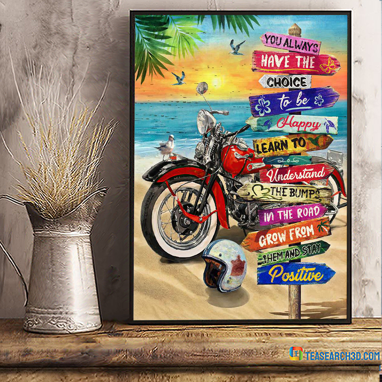 Summer beach harley davidson motorcycle you always have the choice poster A1