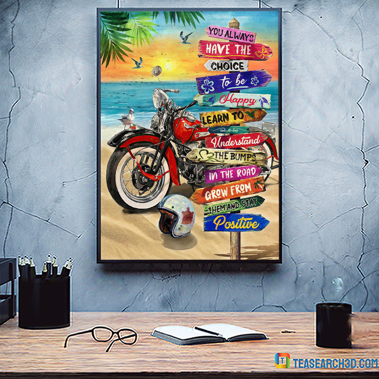 Summer beach harley davidson motorcycle you always have the choice poster A2