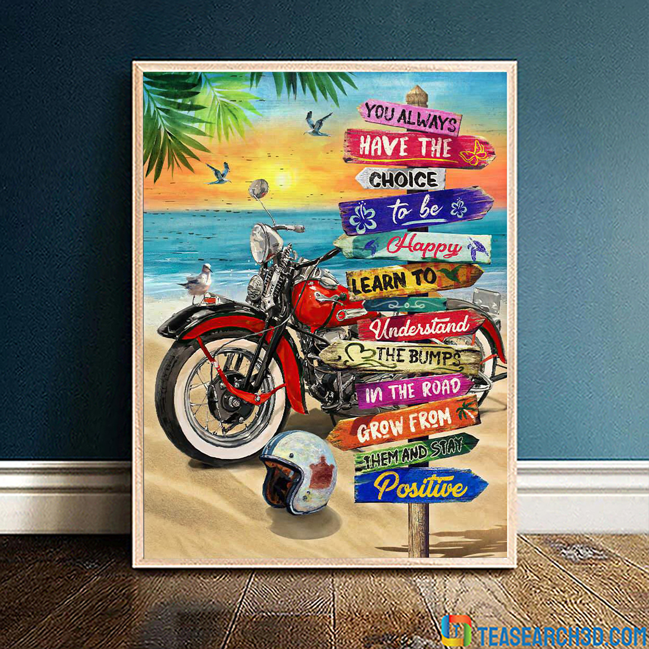 Summer beach harley davidson motorcycle you always have the choice poster A3